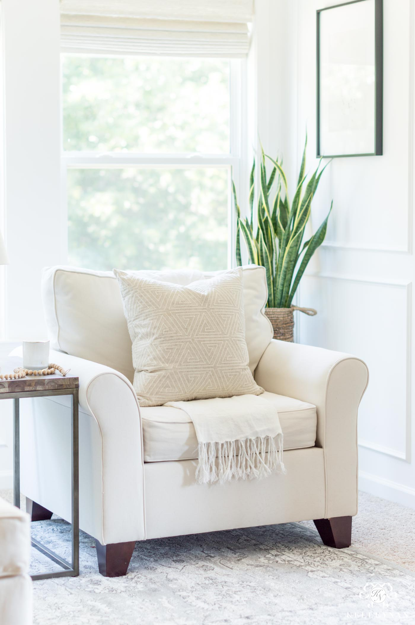 Master bedroom sitting area decor and chairs