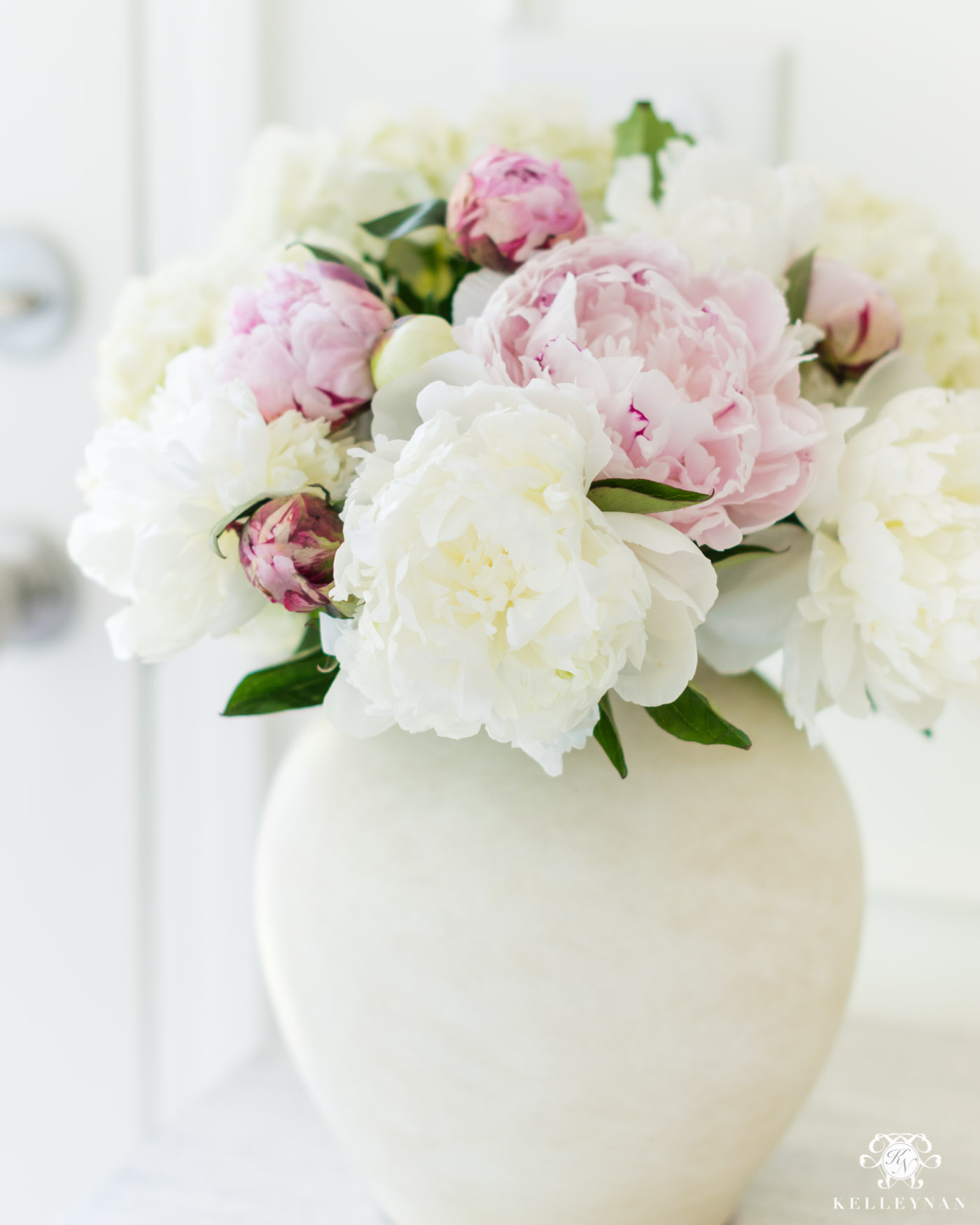 Pink and white peonies floral arrangement