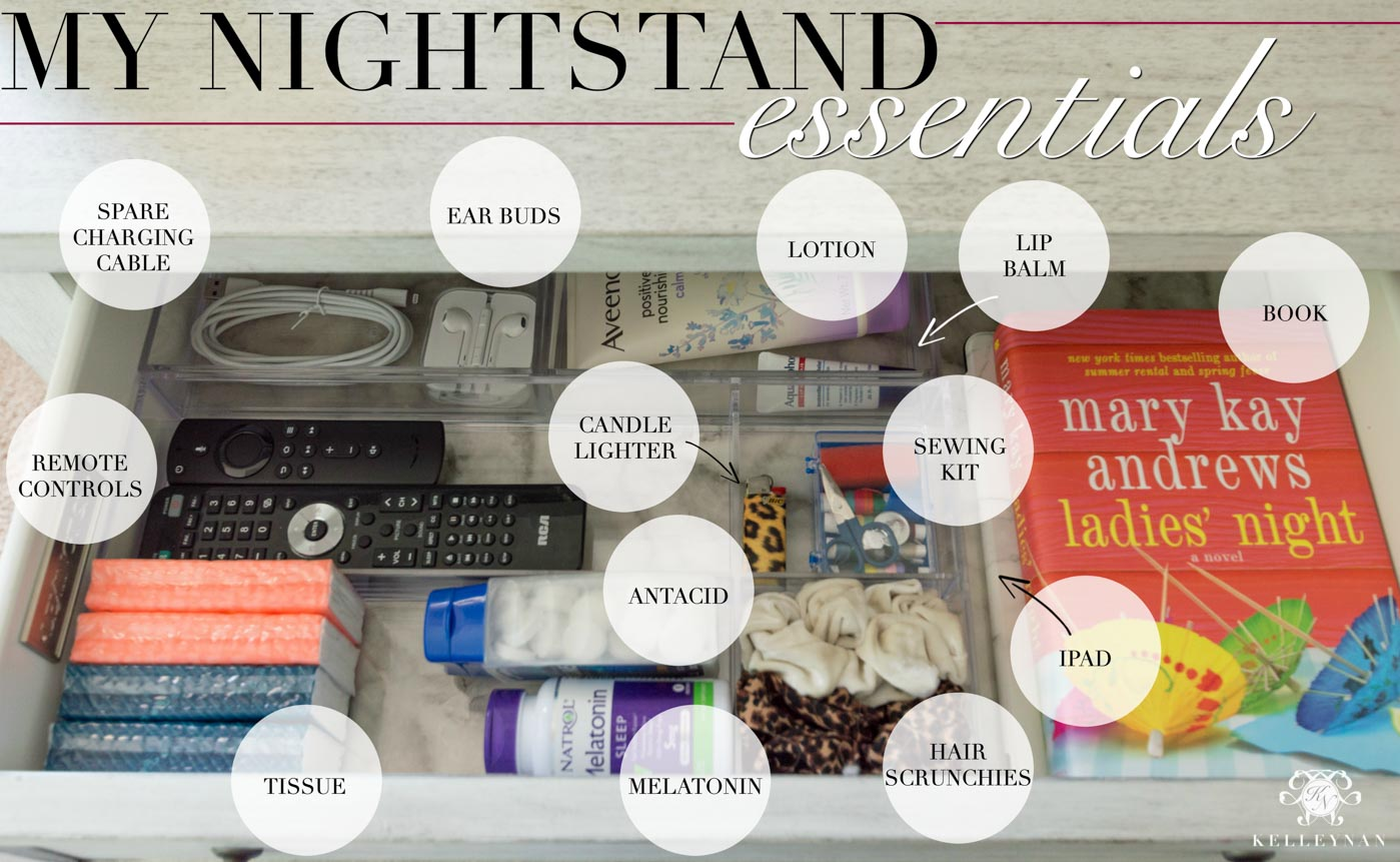 Organized nightstand and bedside essentials