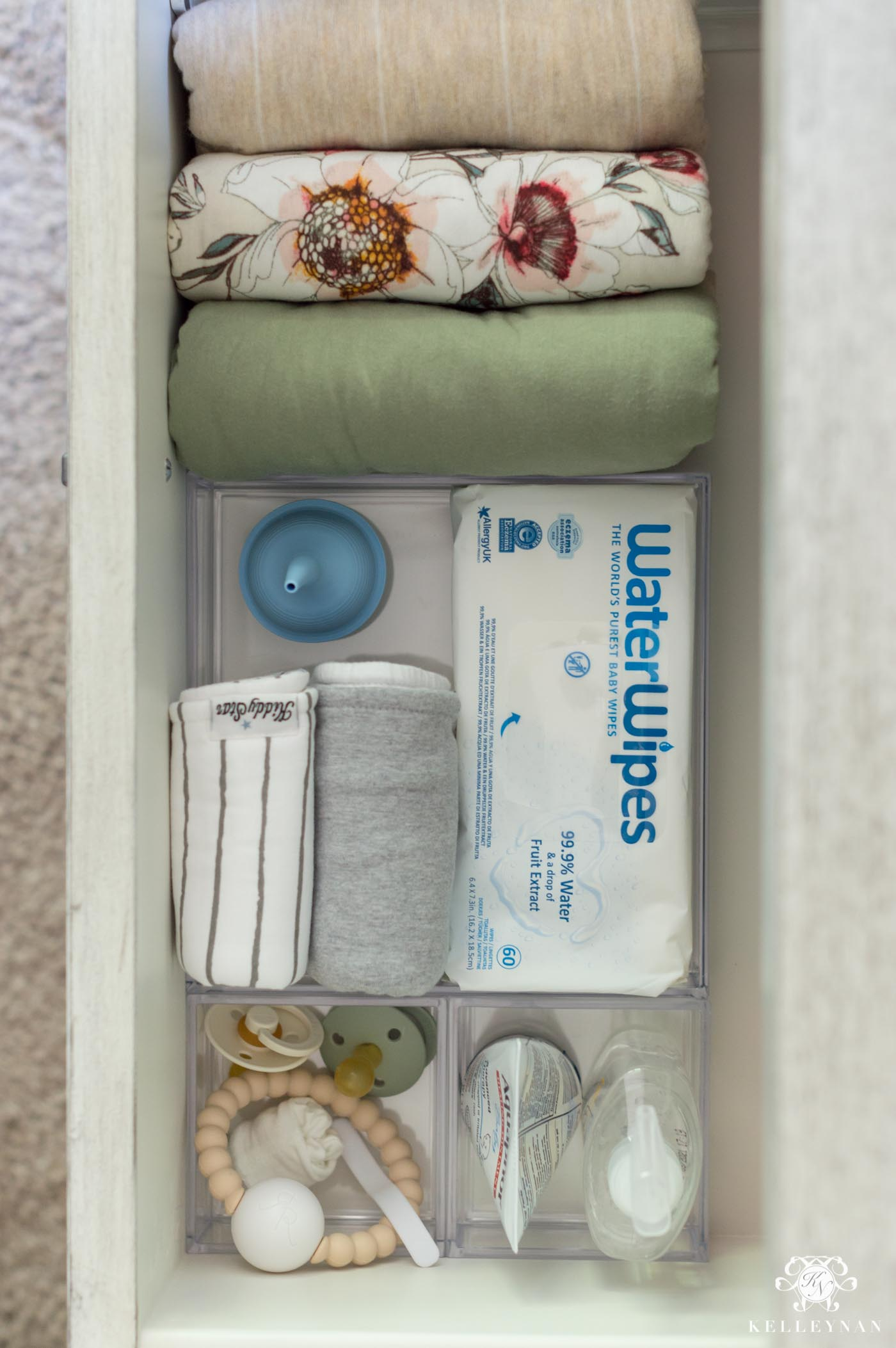 Organized baby essentials for the nightstand