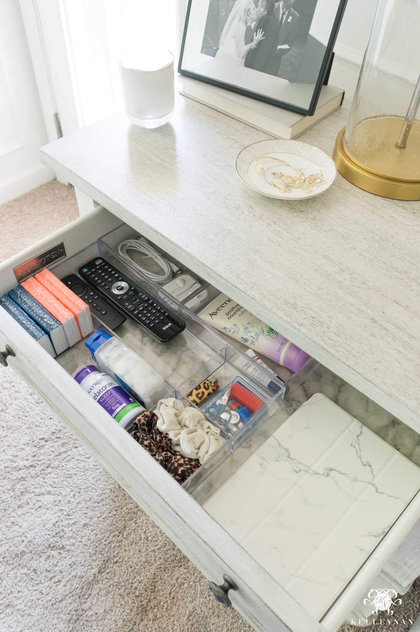 Nightstand organizers and bedside essentials