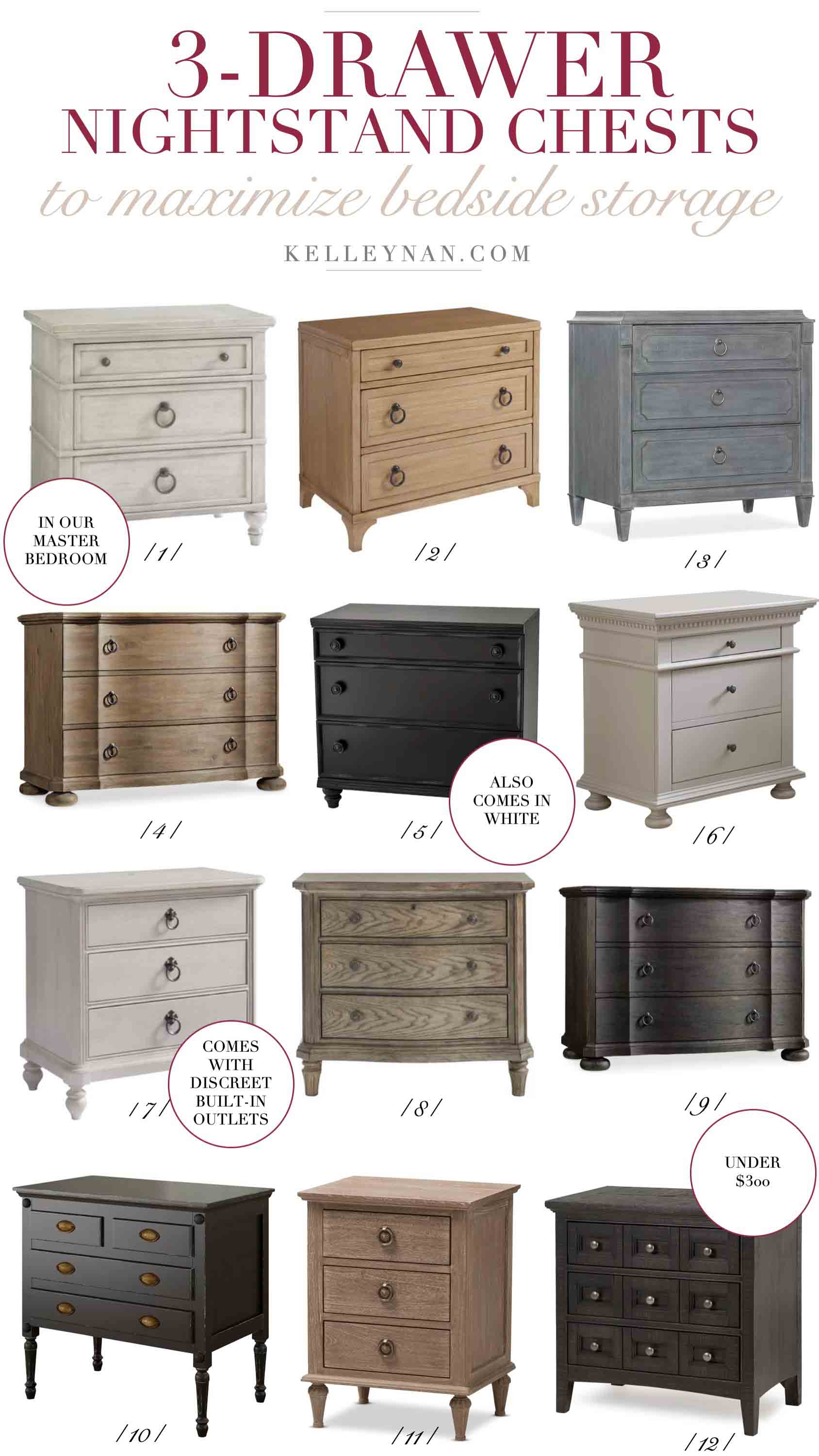 Favorite bachelor's chest three drawer nightstands to maximize bedroom storage