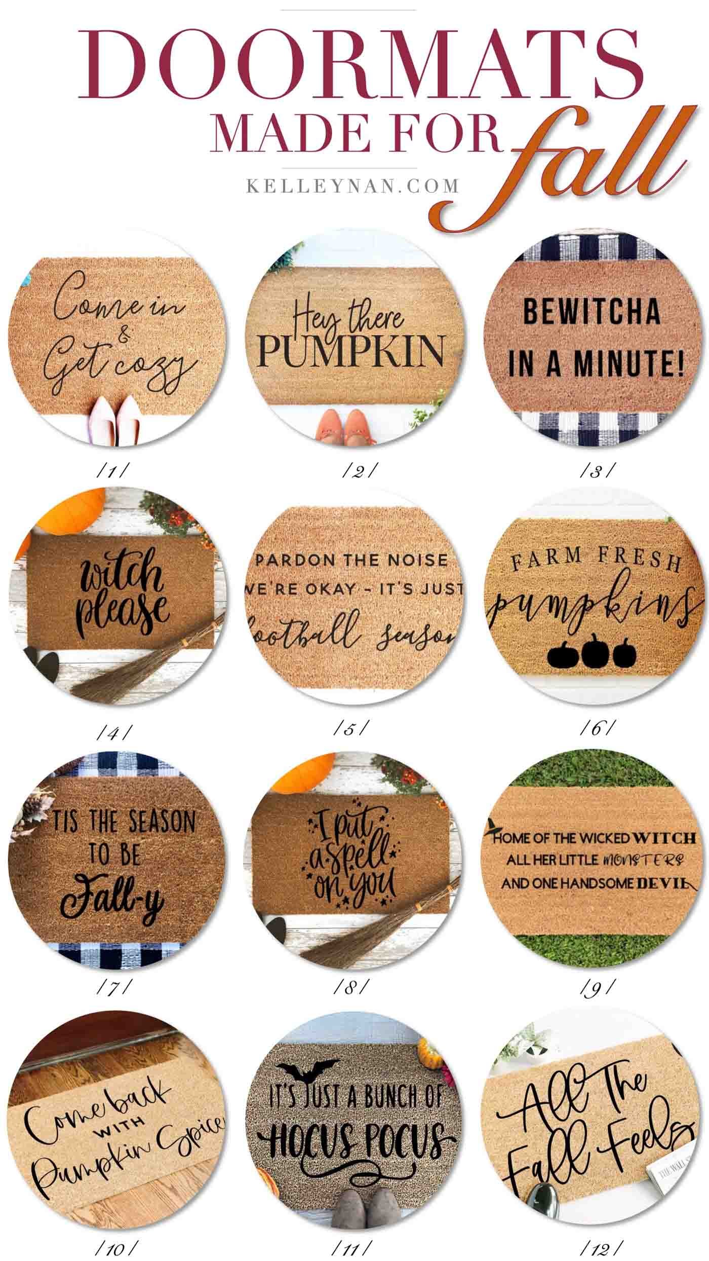 Fall Front Doormats with Harvest and Fall Sayings and Quotes