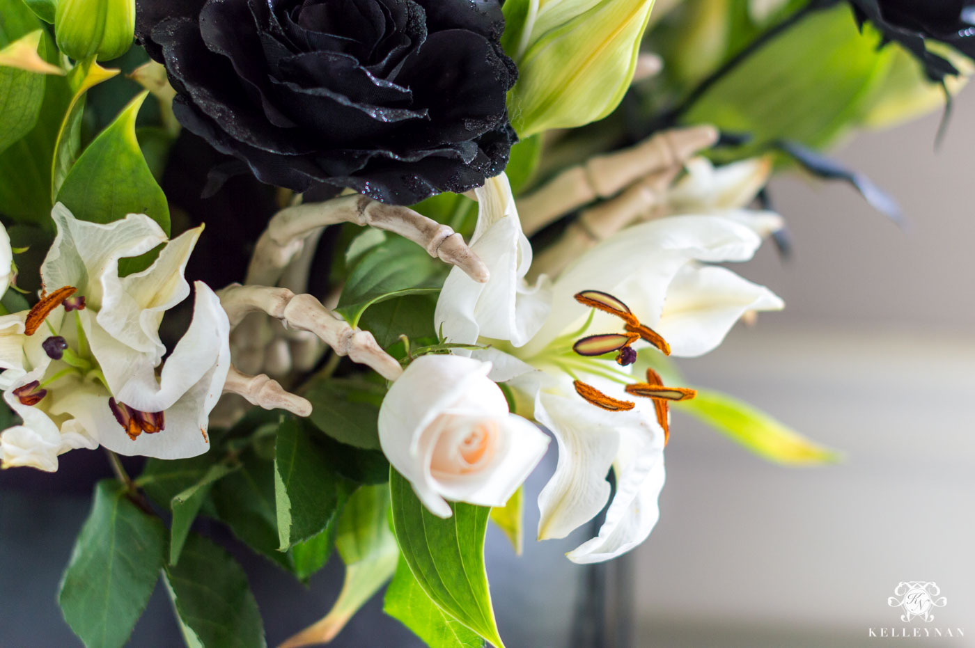 Halloween Flower Ideas -- Using Bones in a Spooky Floral Arrangement