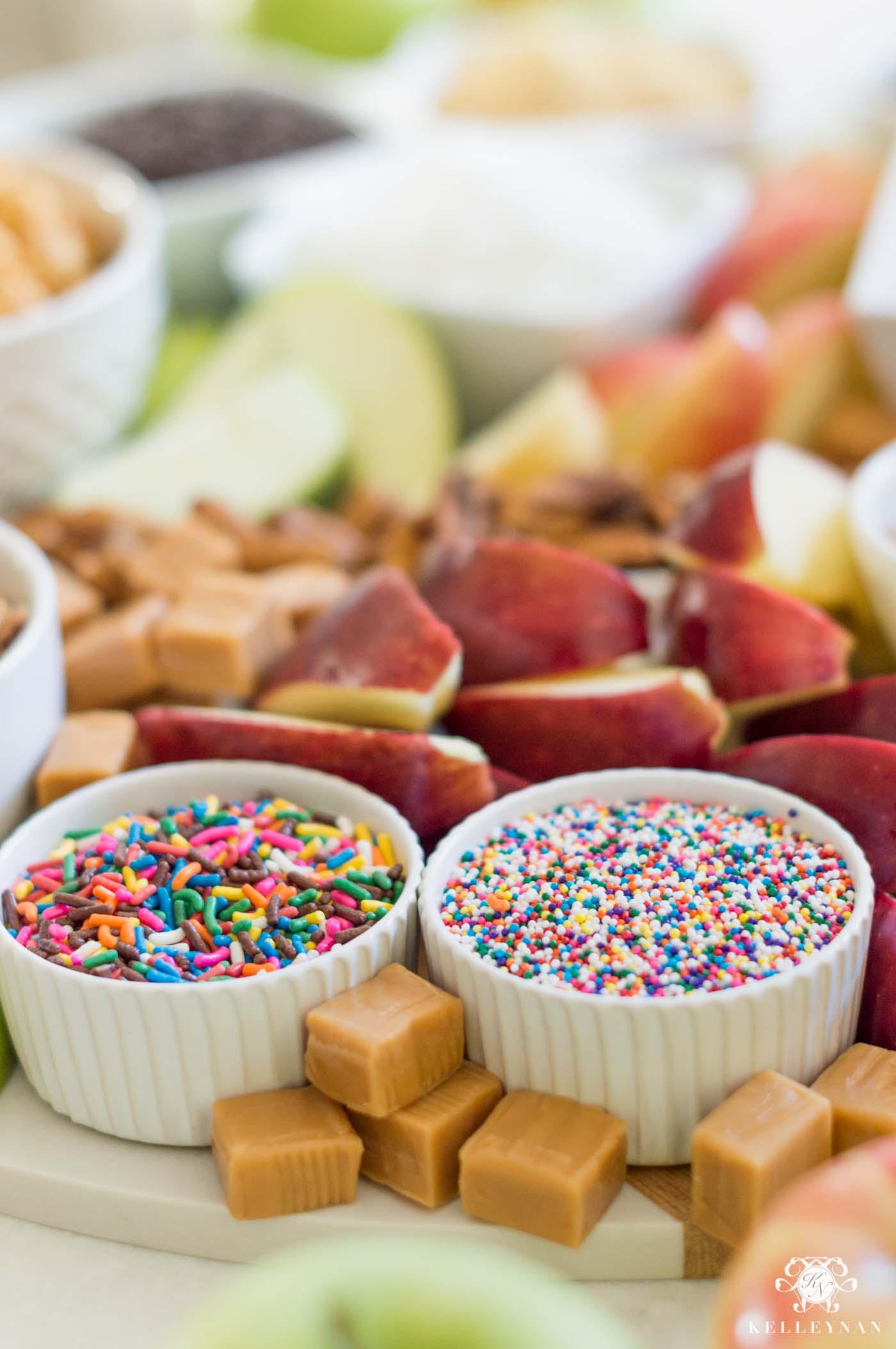 Topping ideas for caramel apples- plus, a full appetizer setup
