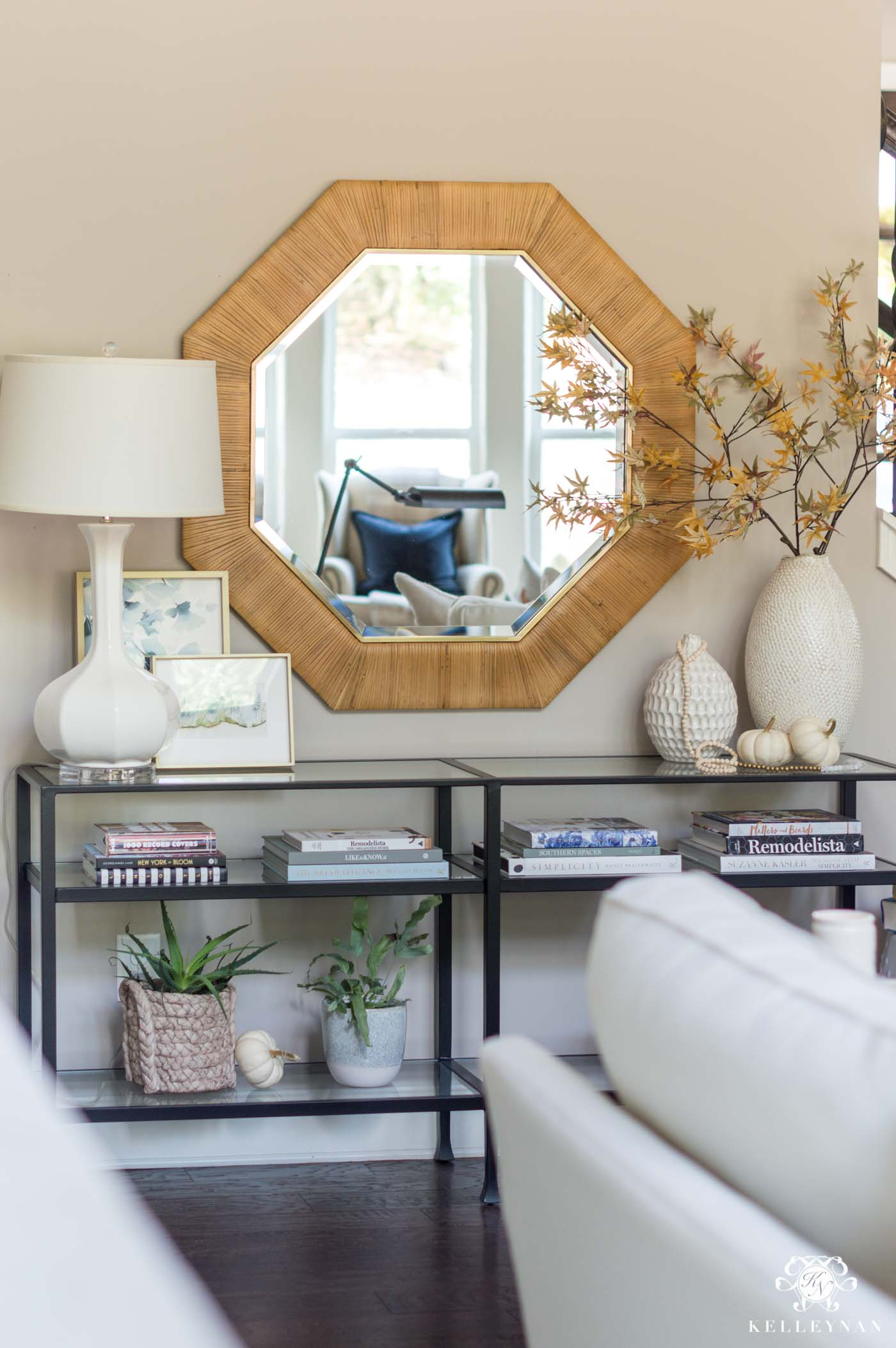 Fall decorating ideas and console table styling and decor