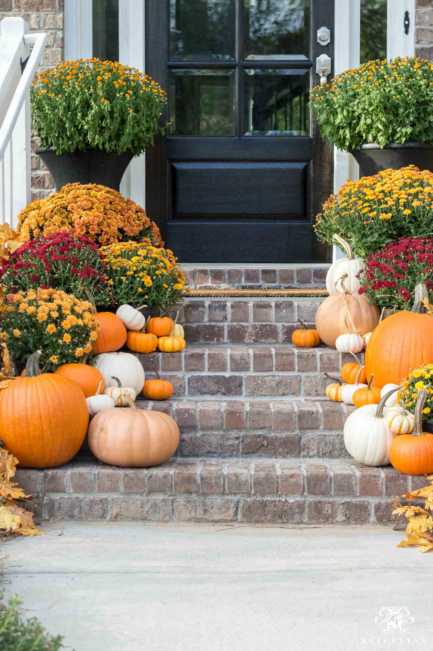 Fall Porch Decor -- Traditional decorating ideas for the front porch