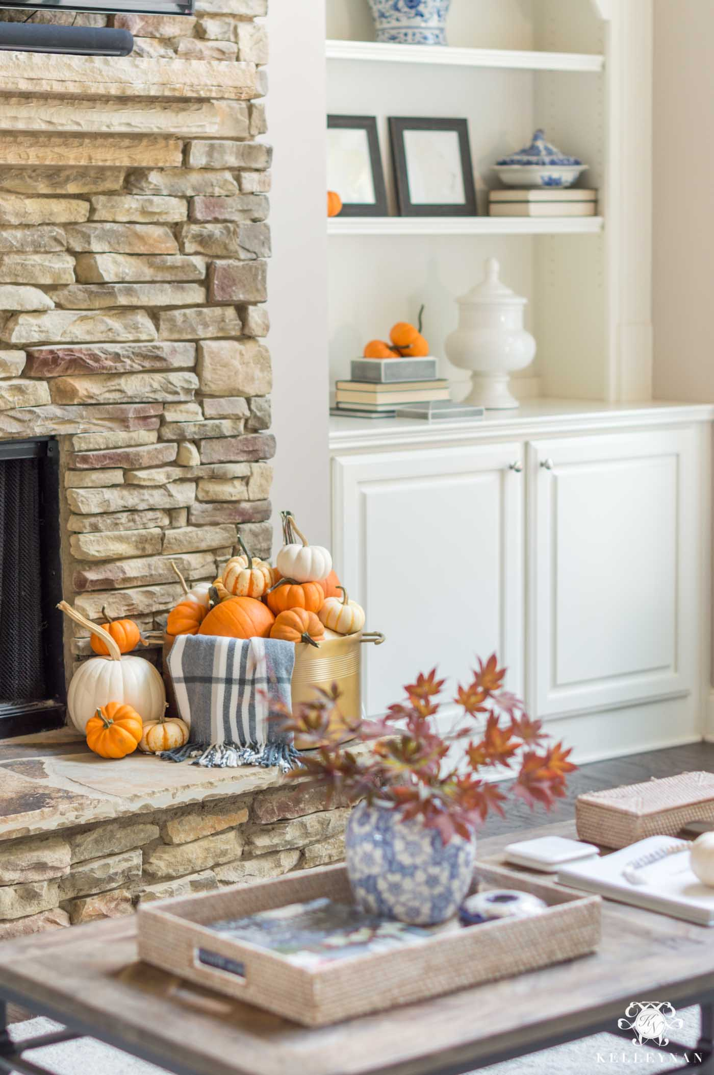 Fall fireplace and living room inspiration