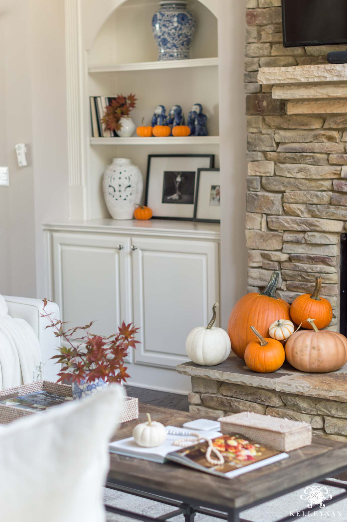 Fall decorating ideas with orange pumpkins
