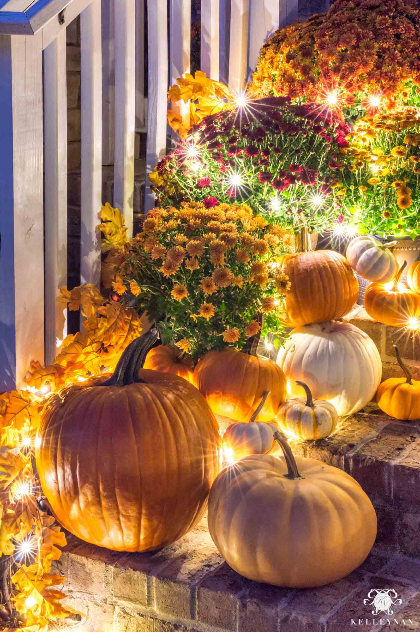 Fall porch decor with twinkle lights