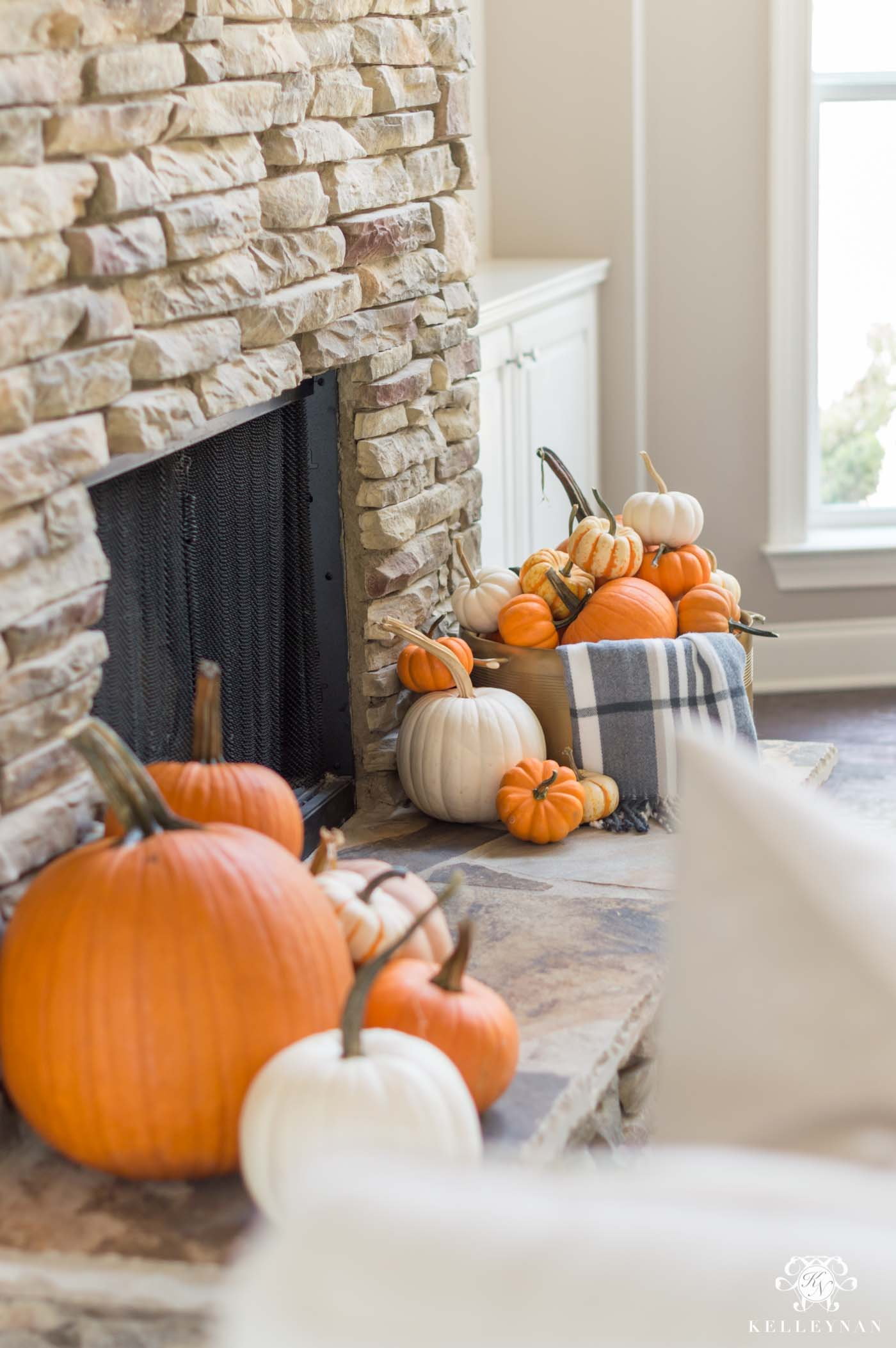 Fall fireplace inspo and decor ideas