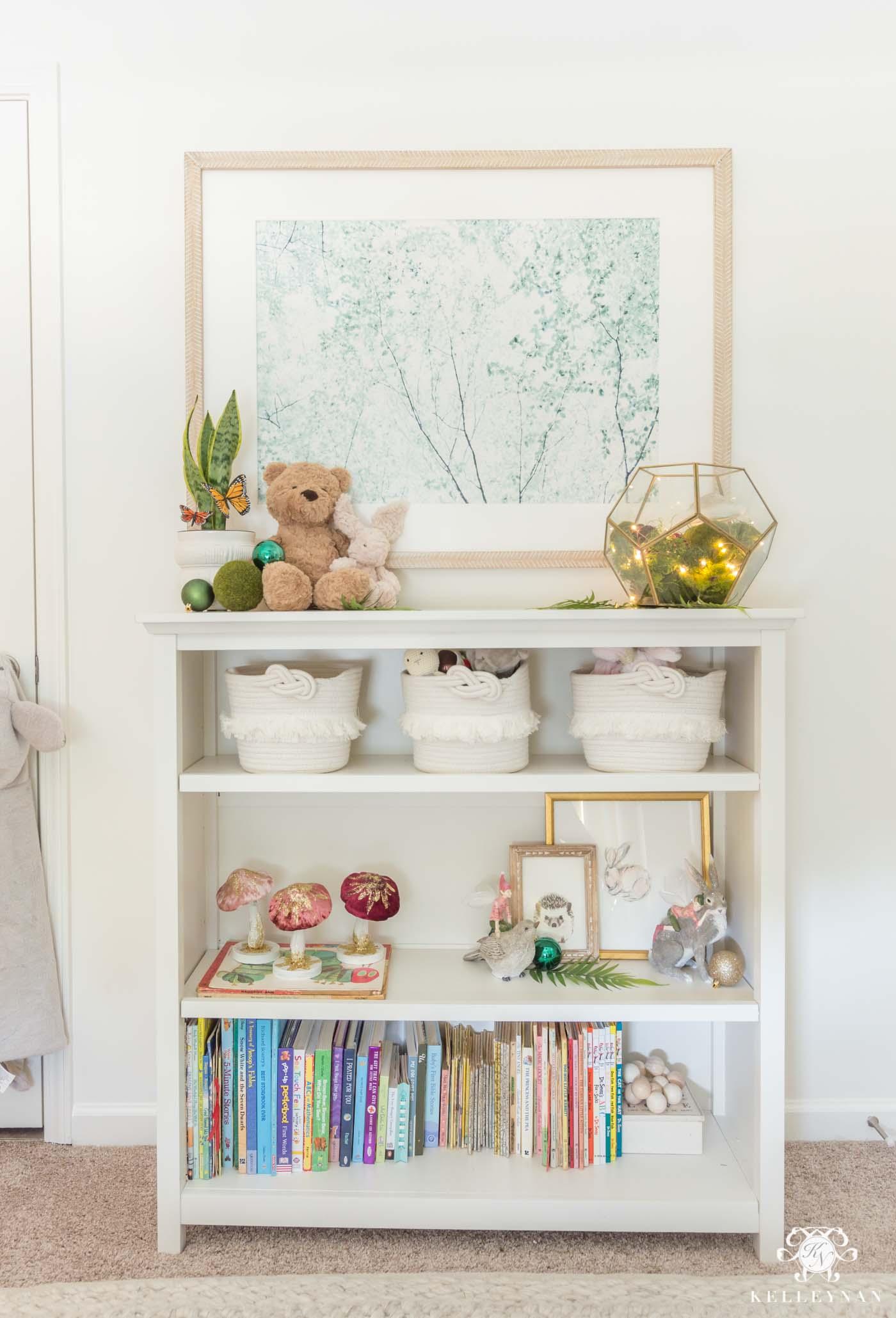Baby Nursery Bookshelf Decor for Christmas