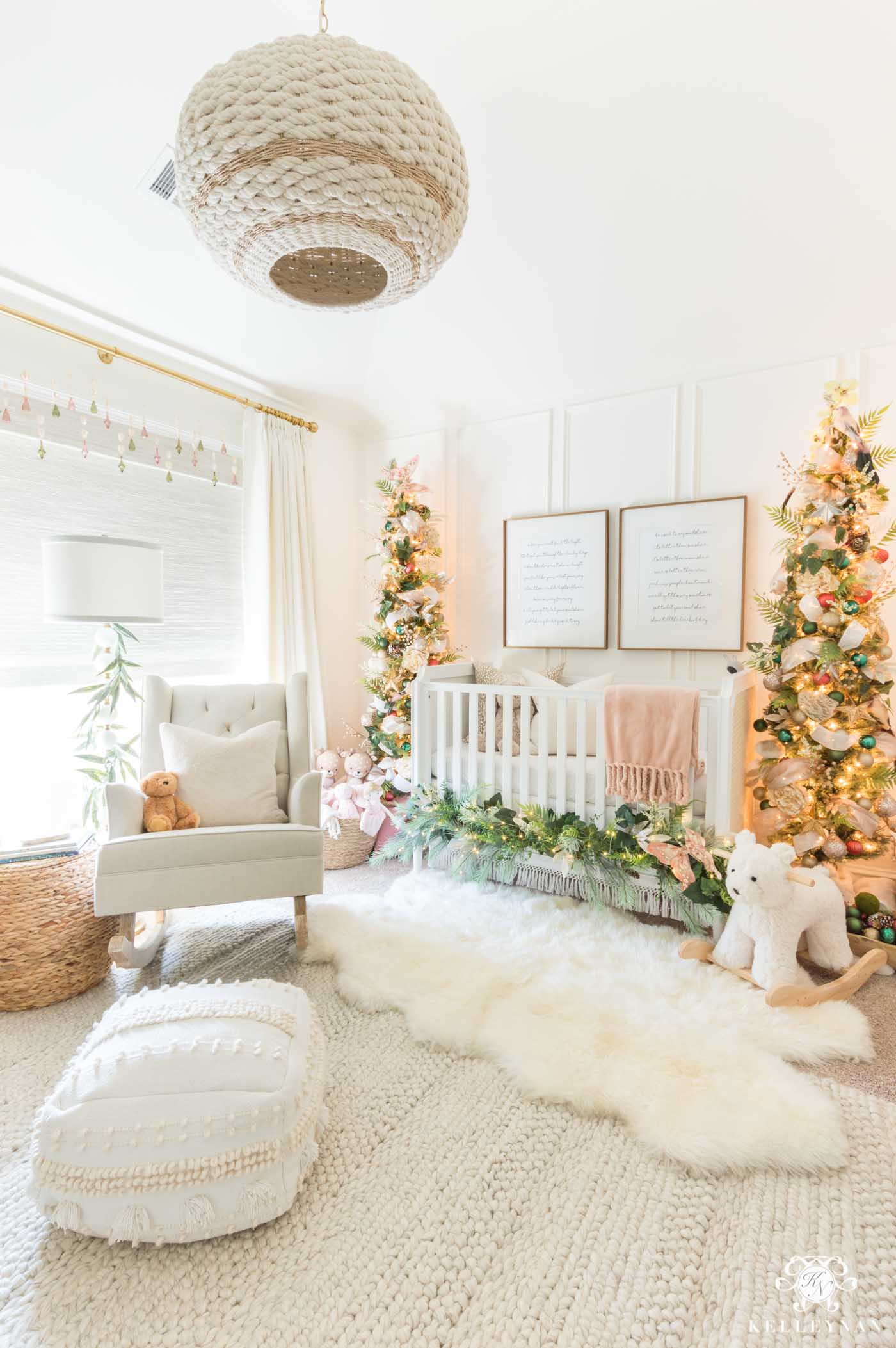 Baby girl's Christmas nursery decor