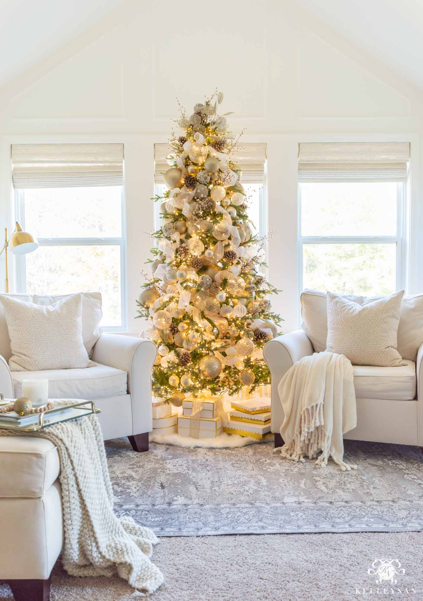 Master Bedroom Sitting Area Christmas Tree and Holiday Decor