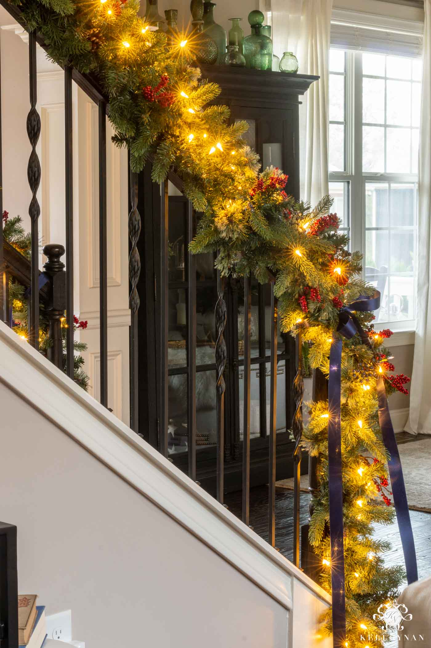 Stair Banister Garland with Blue and Red Berries and Navy Satin Ribbon