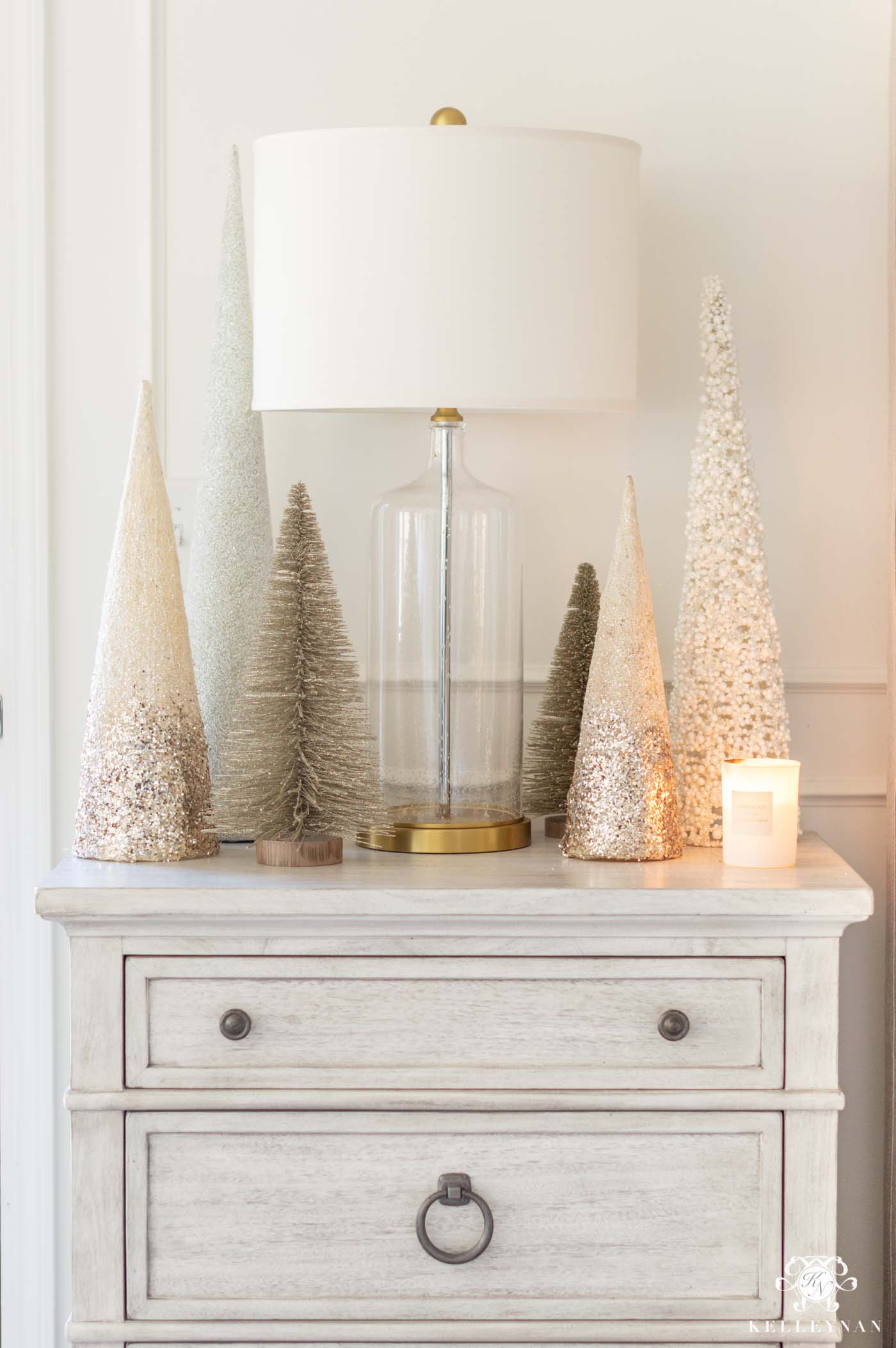 Bedroom Christmas Ideas and Nightstand Christmas Trees
