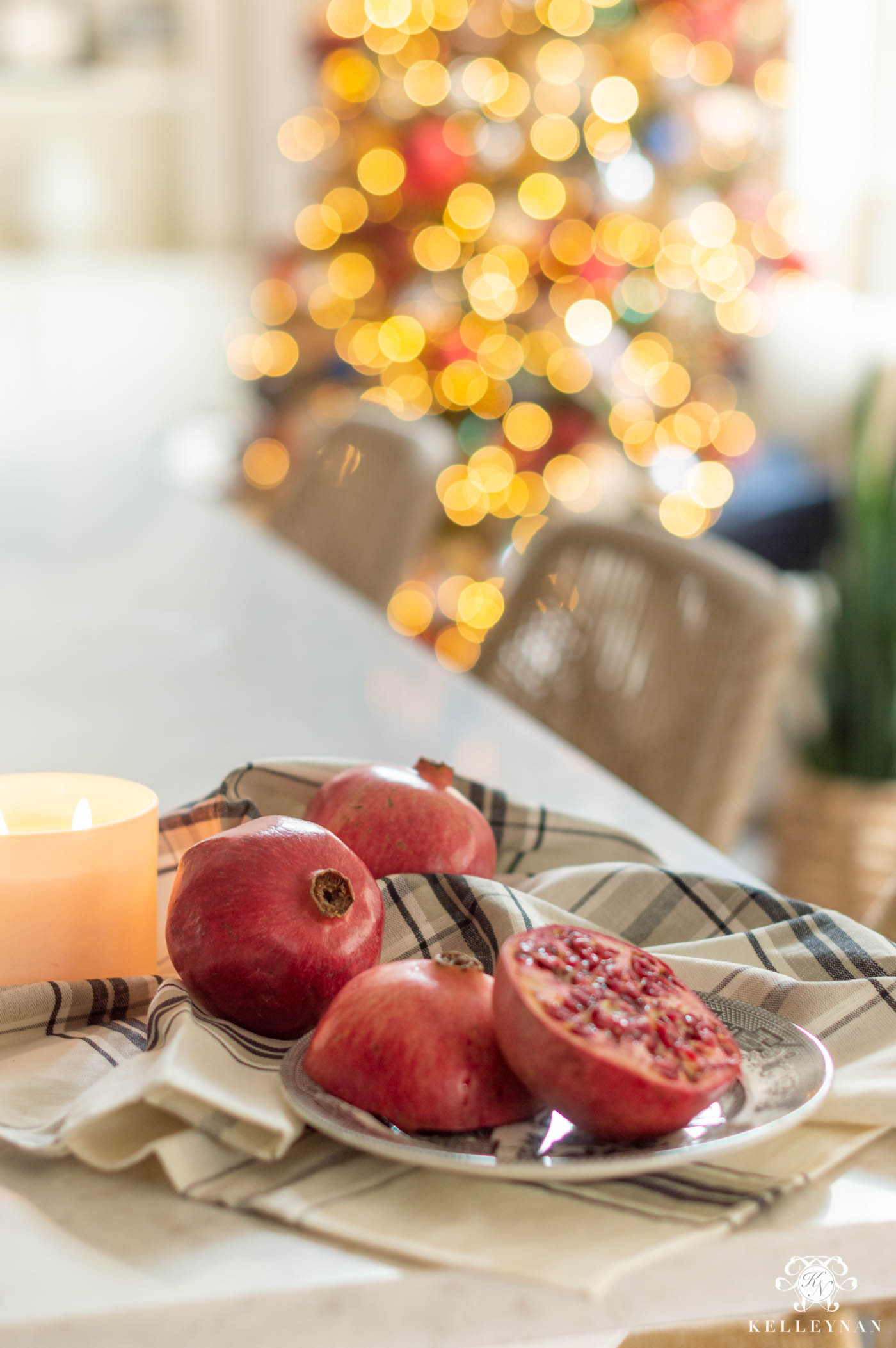 Christmas Kitchen Decor with Pomegranates