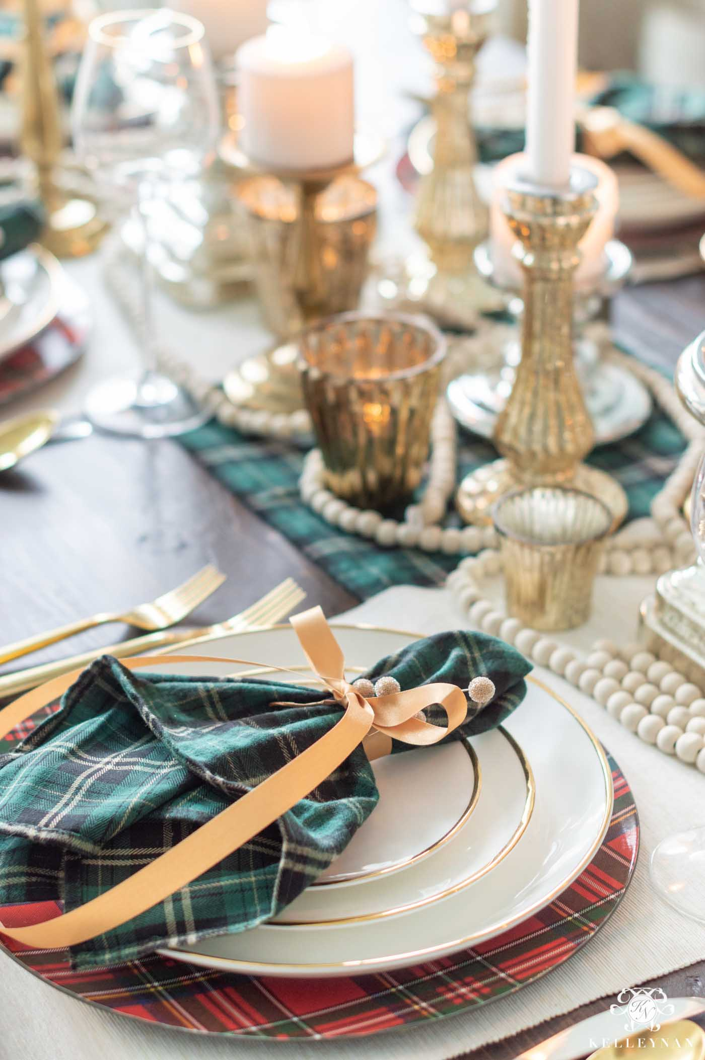 Plaid Christmas Table Decorations with Candle Centerpiece