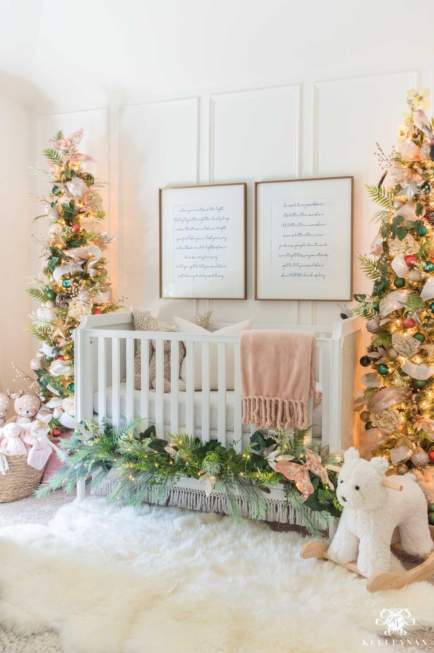 Baby Nursery Christmas Trees Flanking the Crib