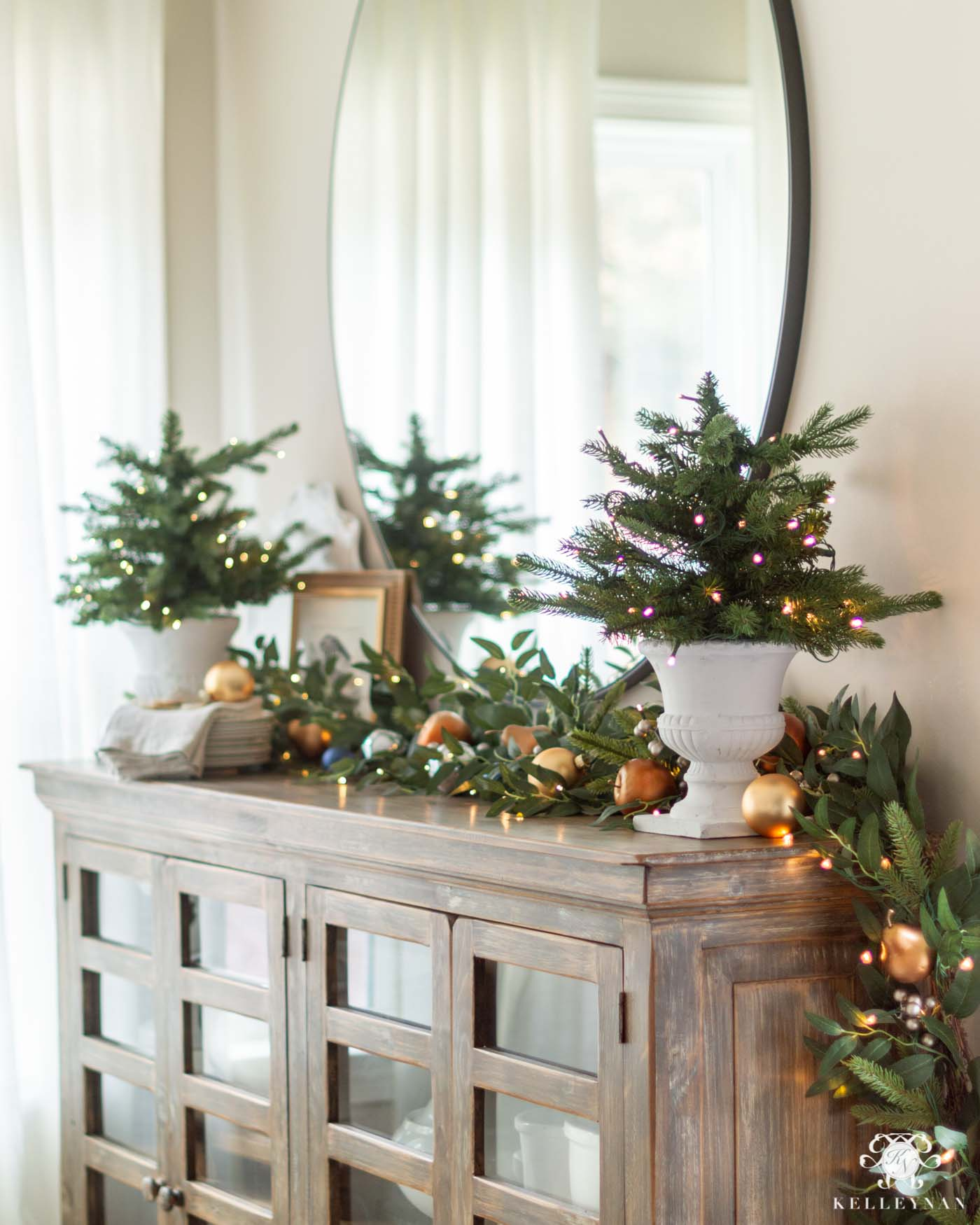 Breakfast Nook Sideboard Garland and Trees