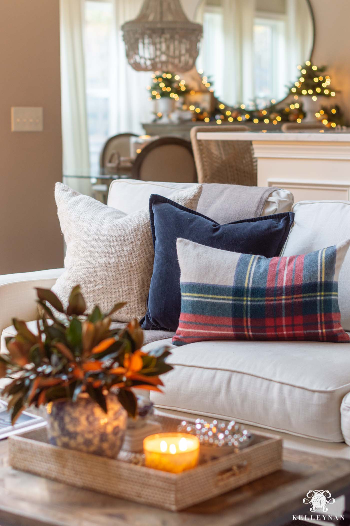 Plaid Christmas Living Room Decor