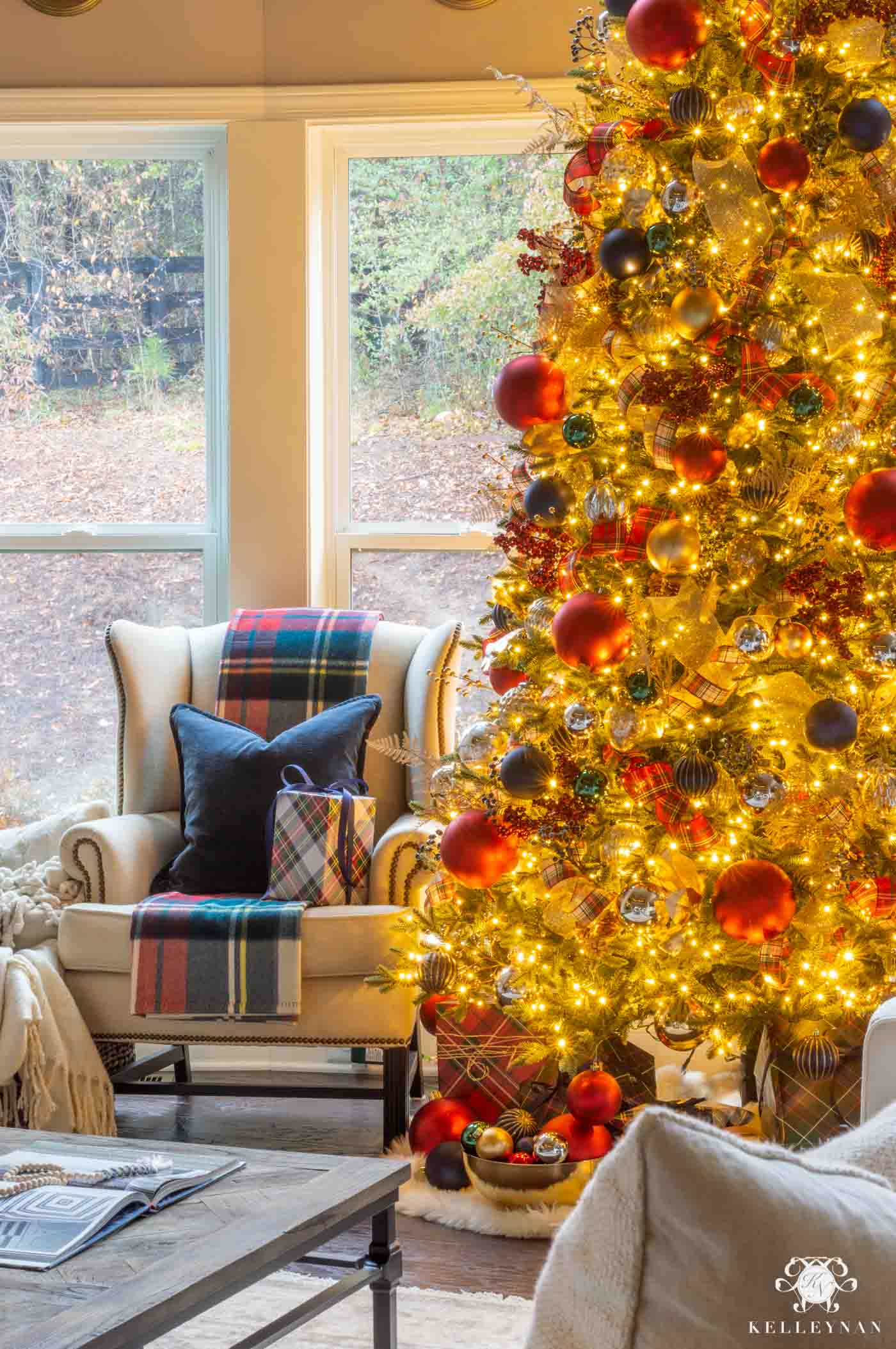 Red and Navy Tartan Christmas Tree