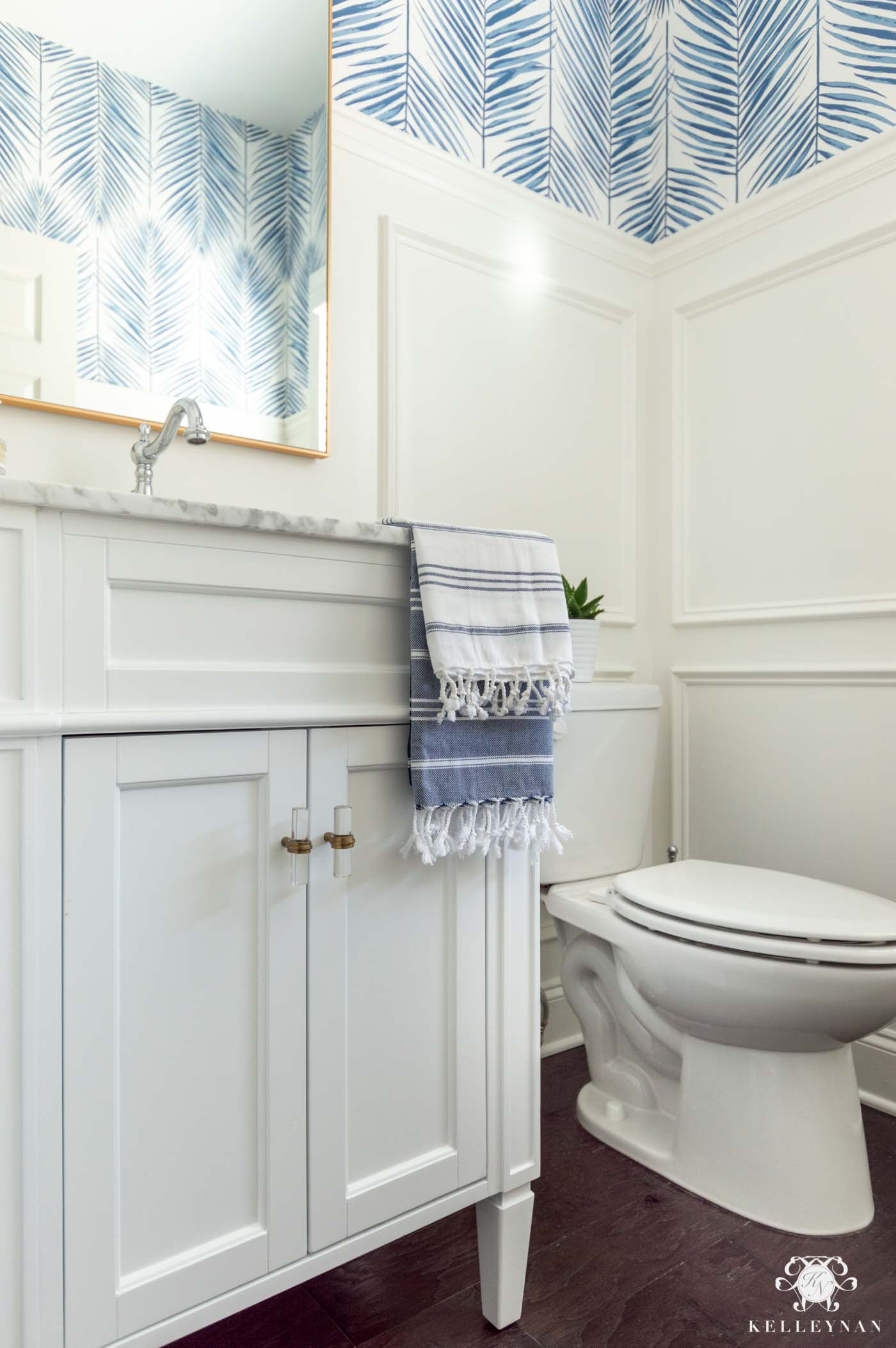 Blue and White Powder Bathroom Ideas