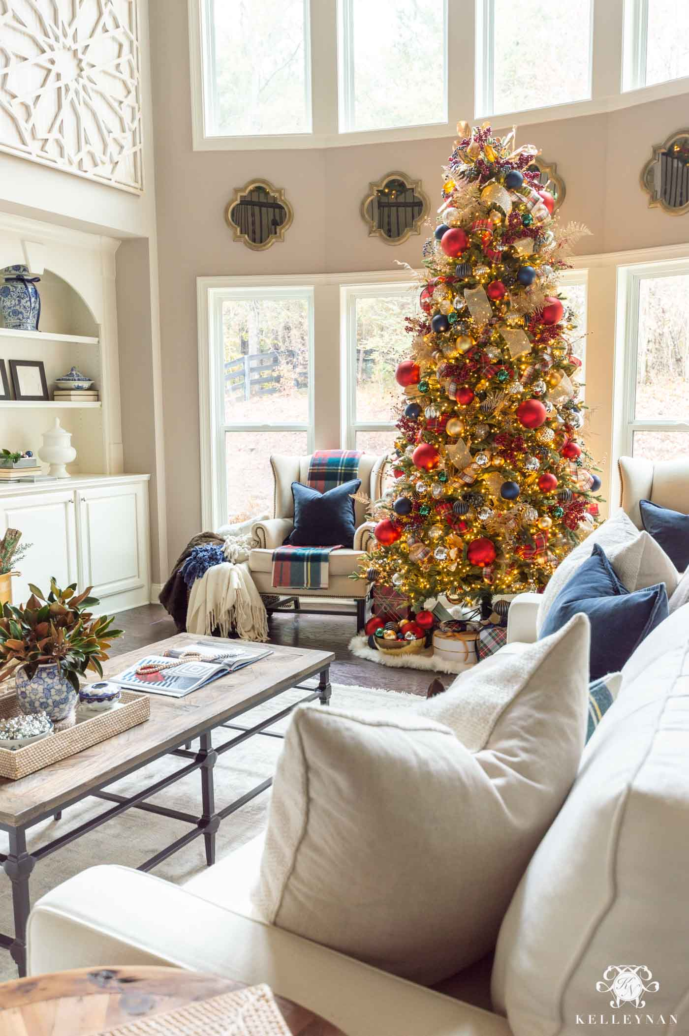 Christmas Living Room with Navy and Red Decorations