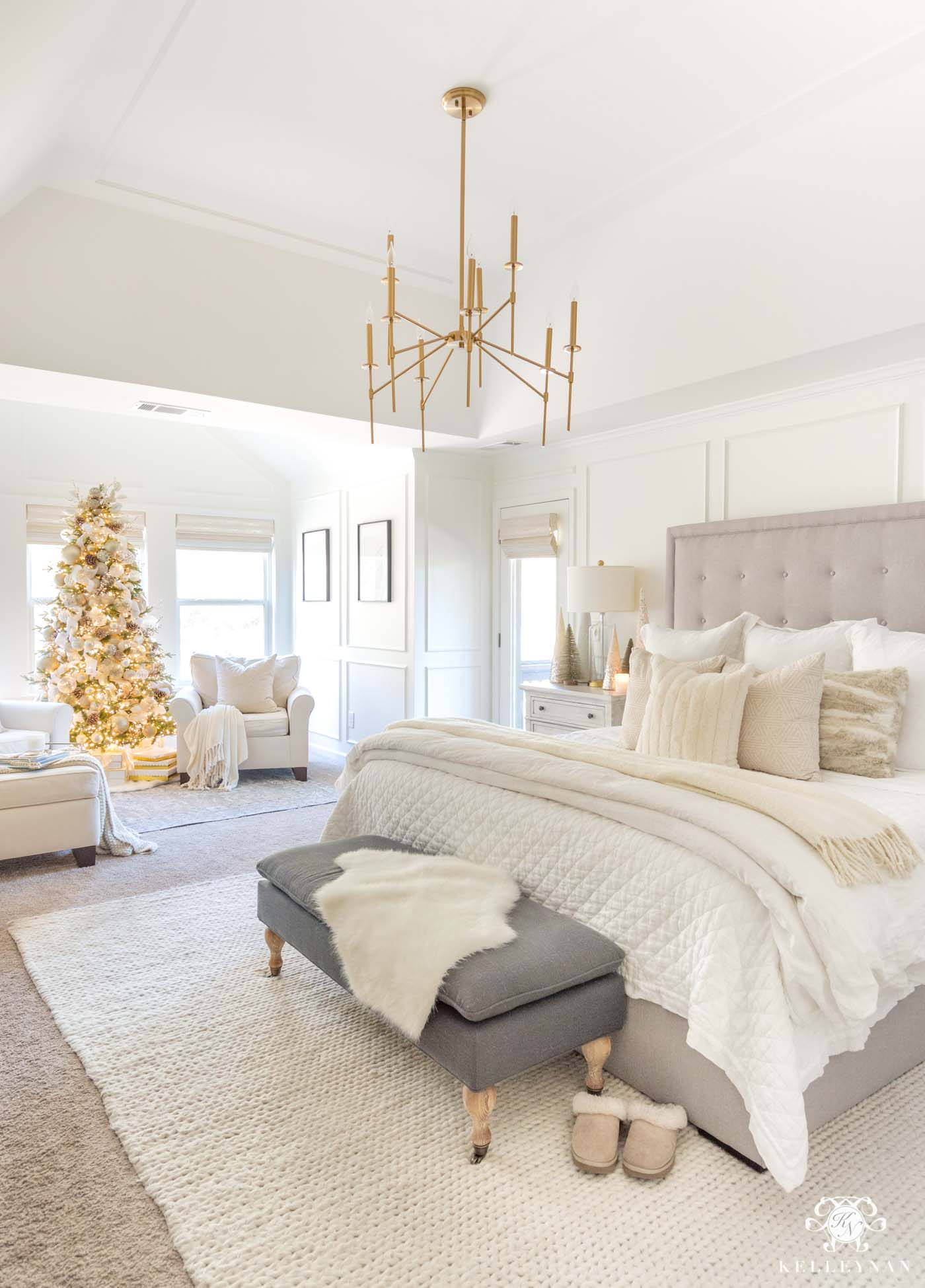 Cozy White Christmas Bedroom