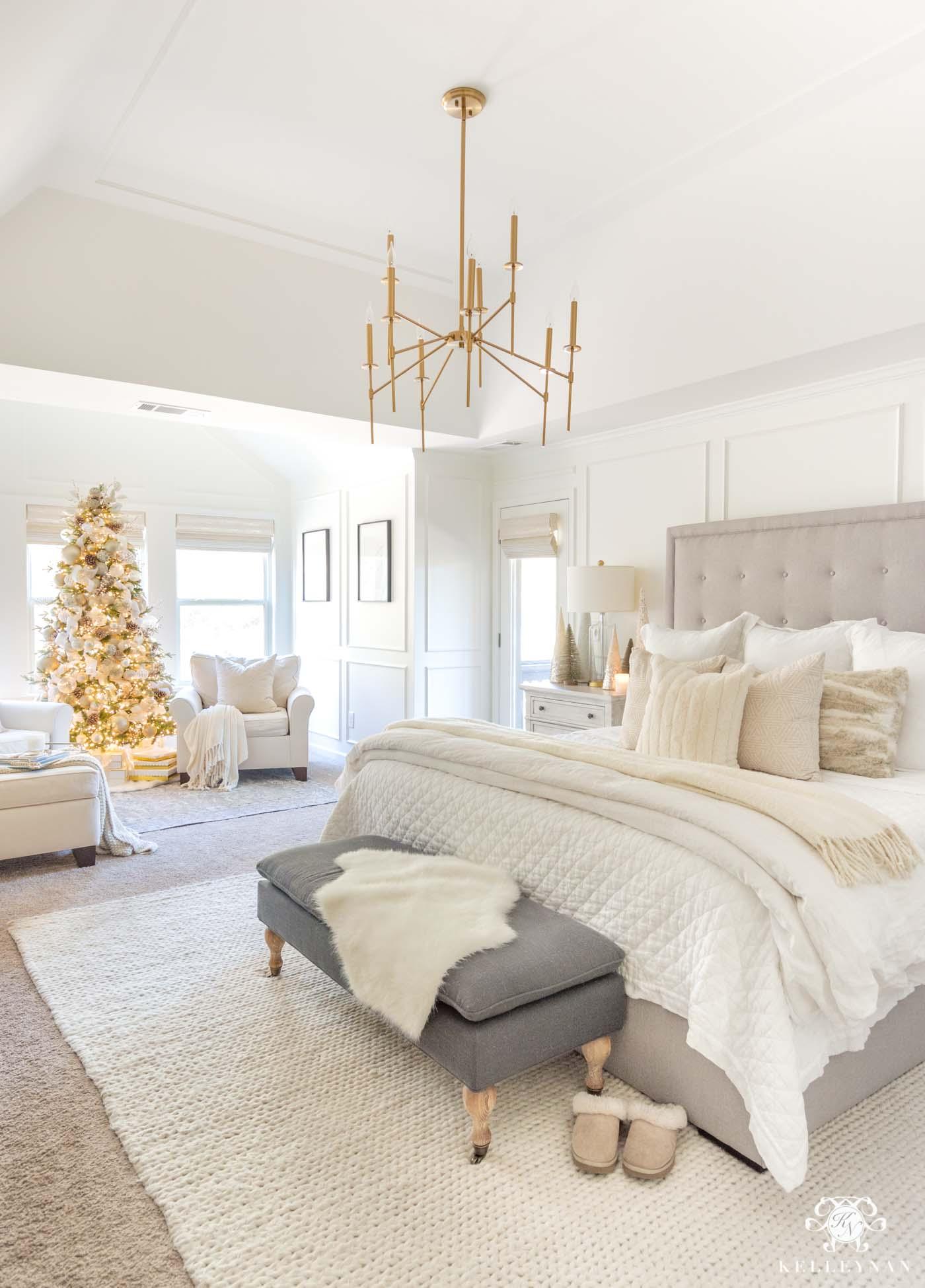 Cozy White Christmas Bedroom
