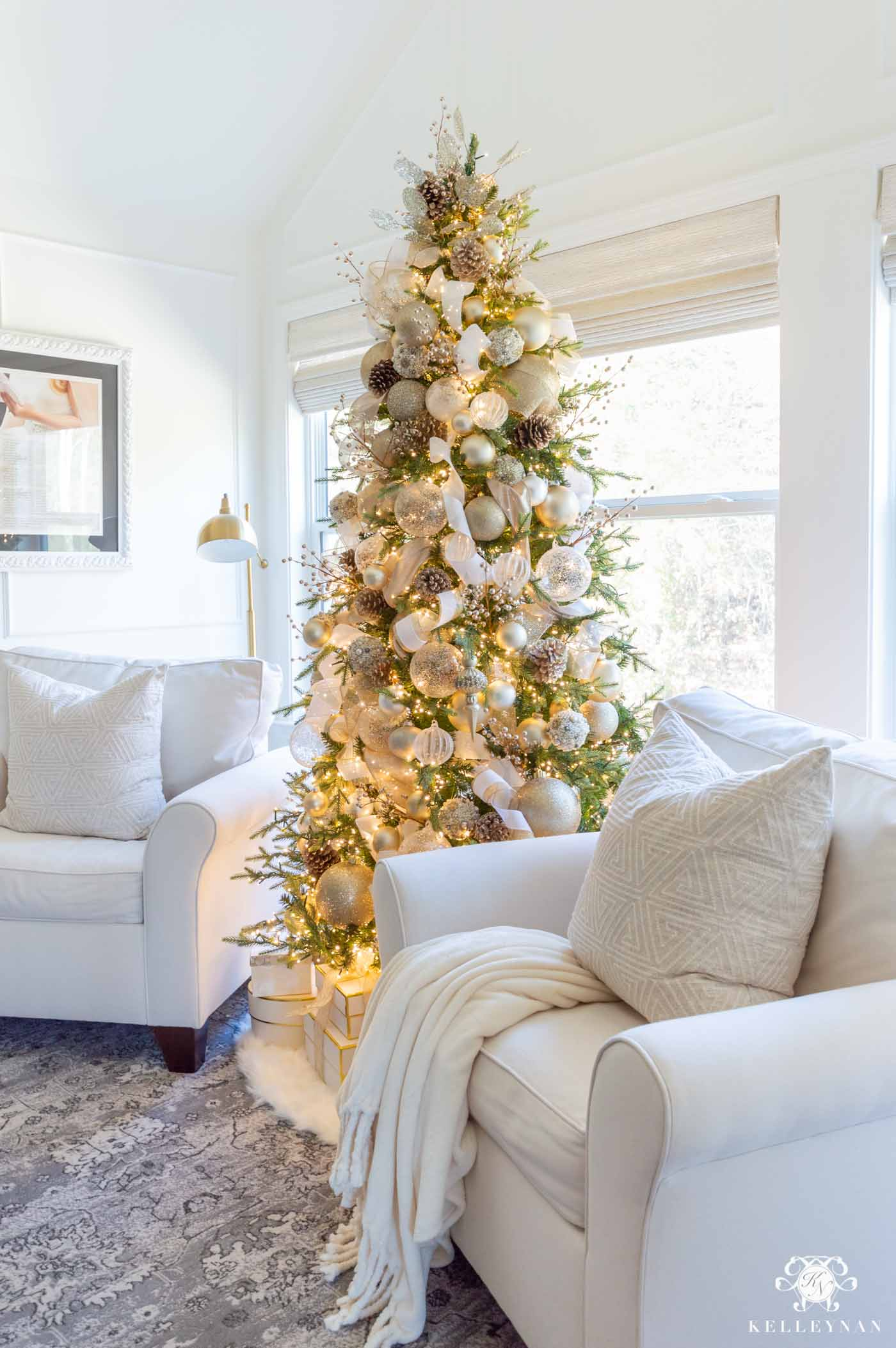 White and Gold Christmas Tree in the Bedroom