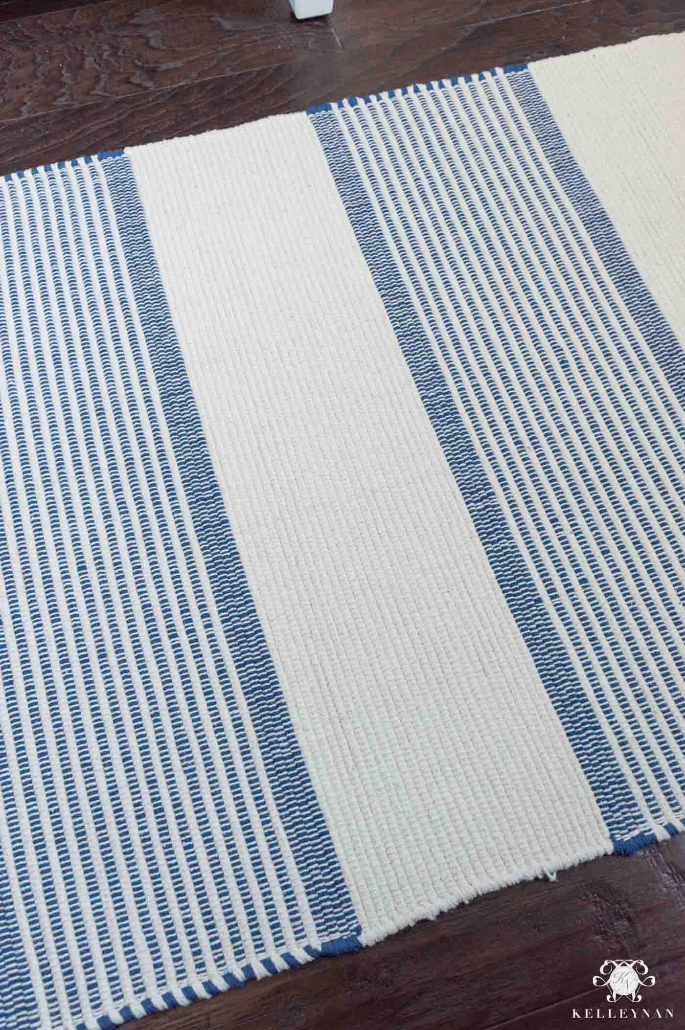 Blue and White Bathroom Rug
