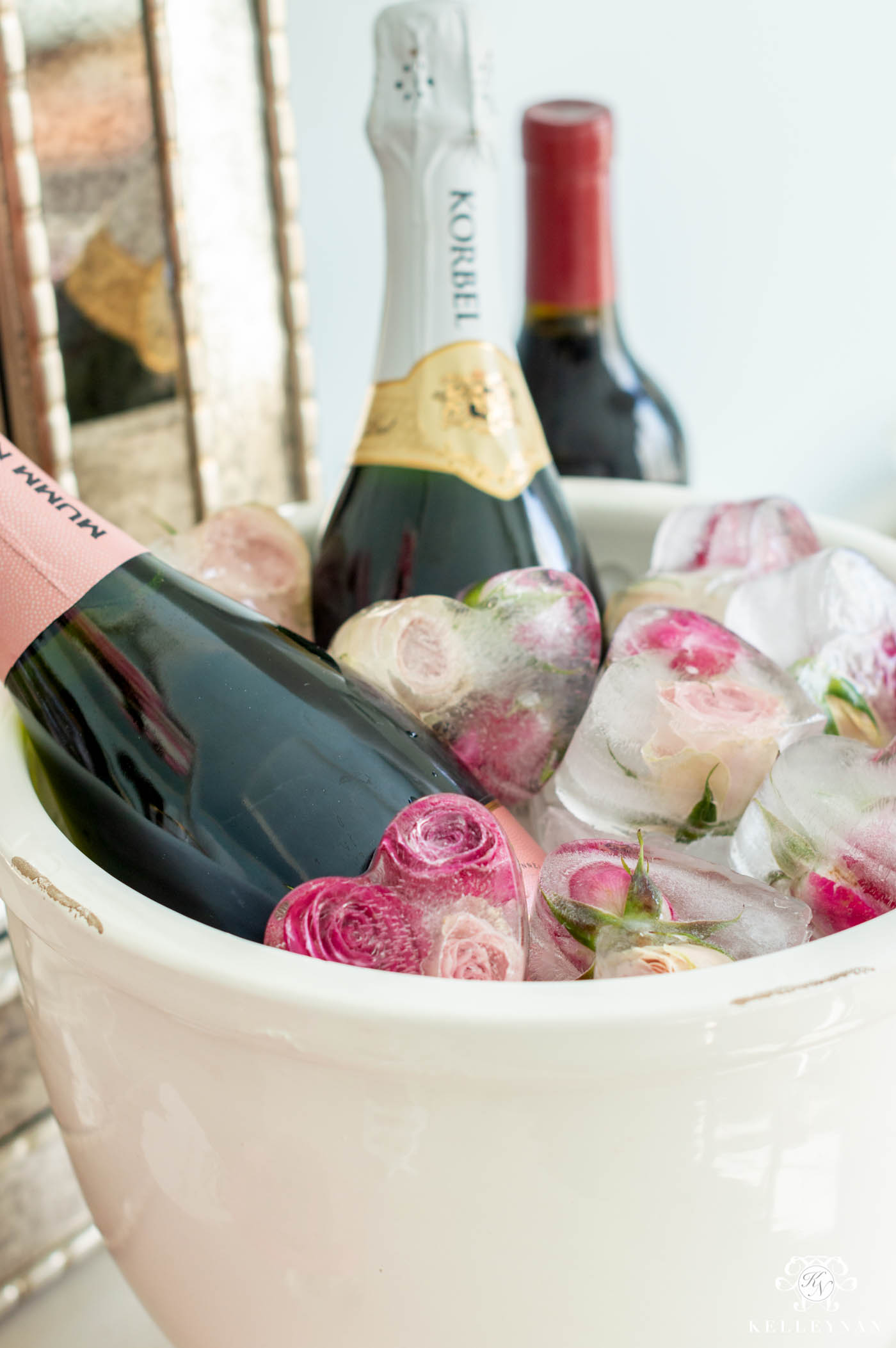 Heart Shaped Ice with Frozen Sweetheart Roses -- The Perfect Mimosa Bar Idea!