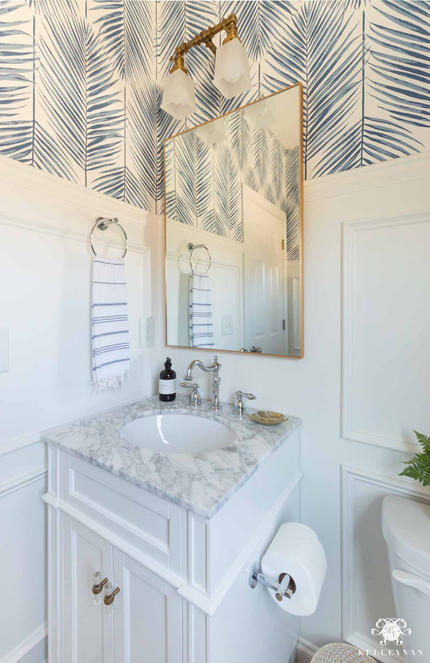 Modern Coastal Powder Room Design and Small Bathroom Decor Ideas