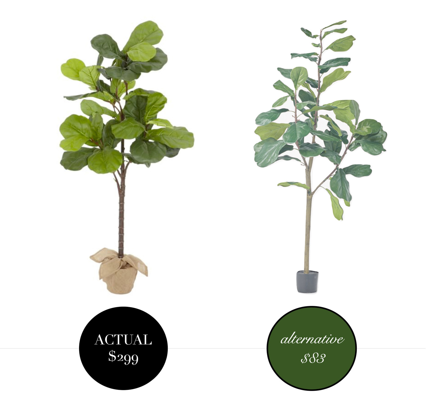 Inexpensive Pottery Barn Fiddle Leaf Fig Dupe