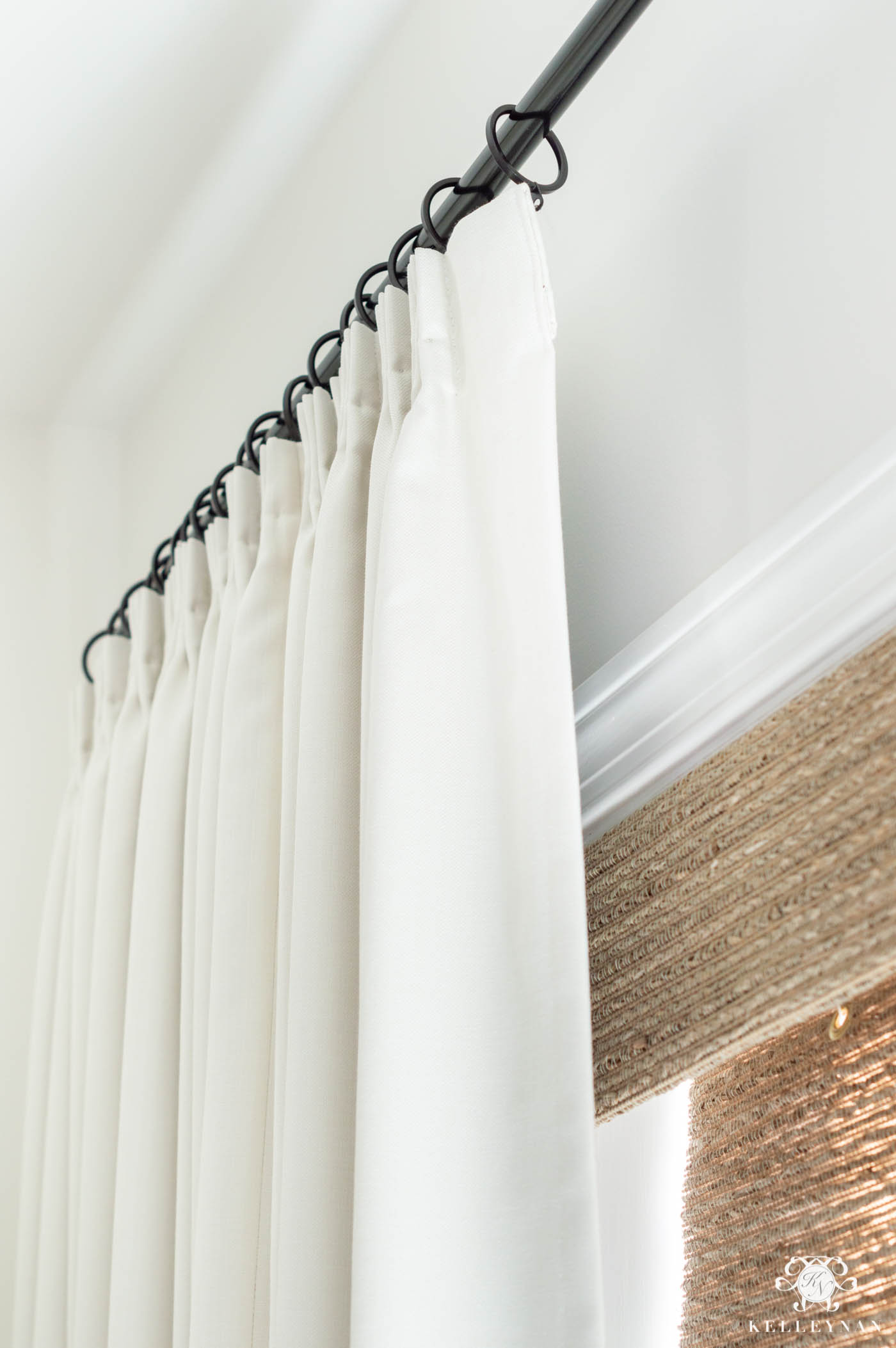 Bedroom Window Treatments -- Pleated Drapes with Woven Shades