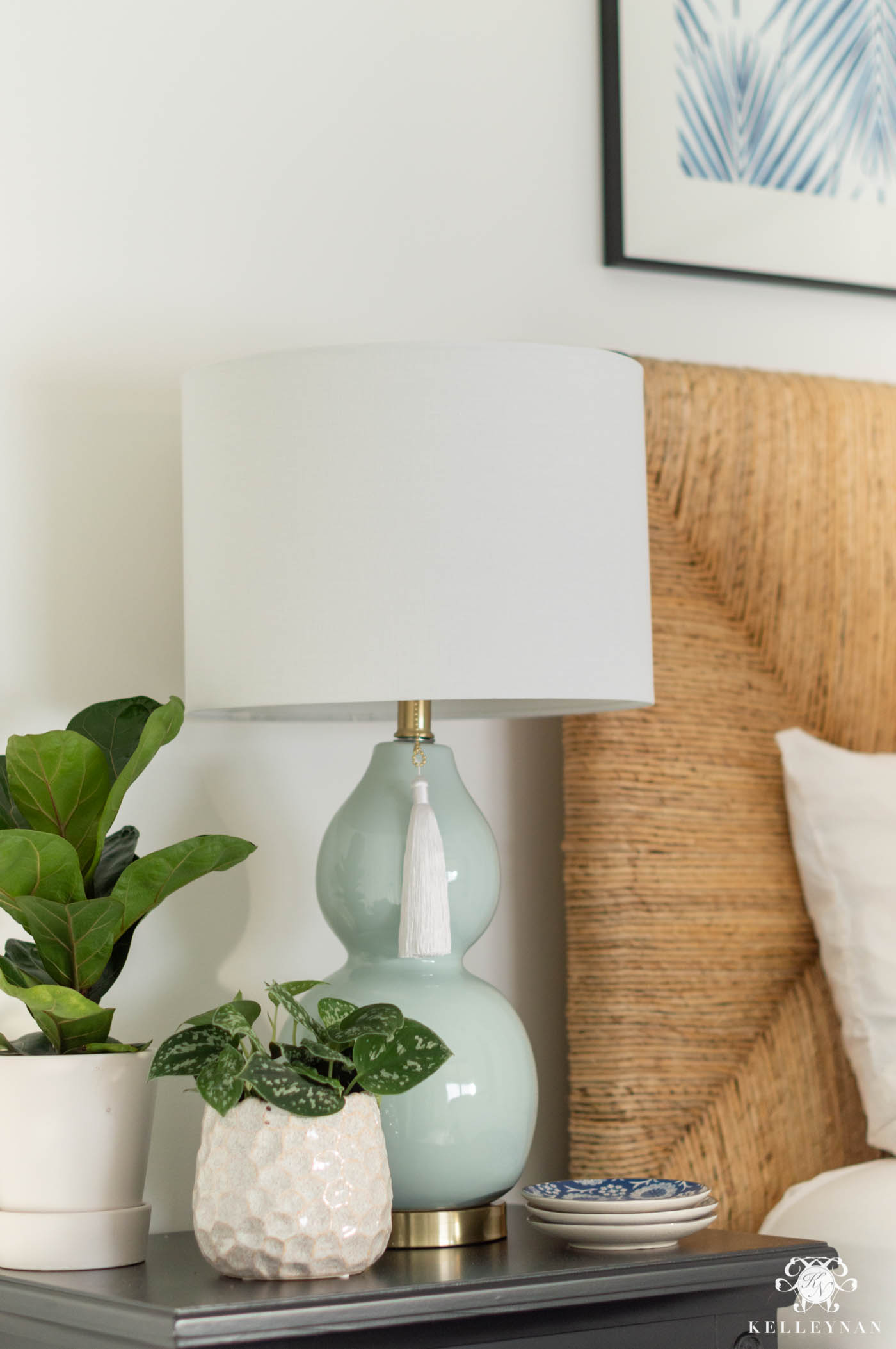 Guest Bedroom Nightstand Styling and Decor Details