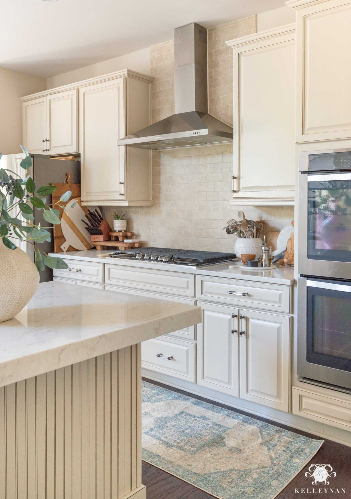 Pops of Blue in a Cream Kitchen - And Other Spring Decor