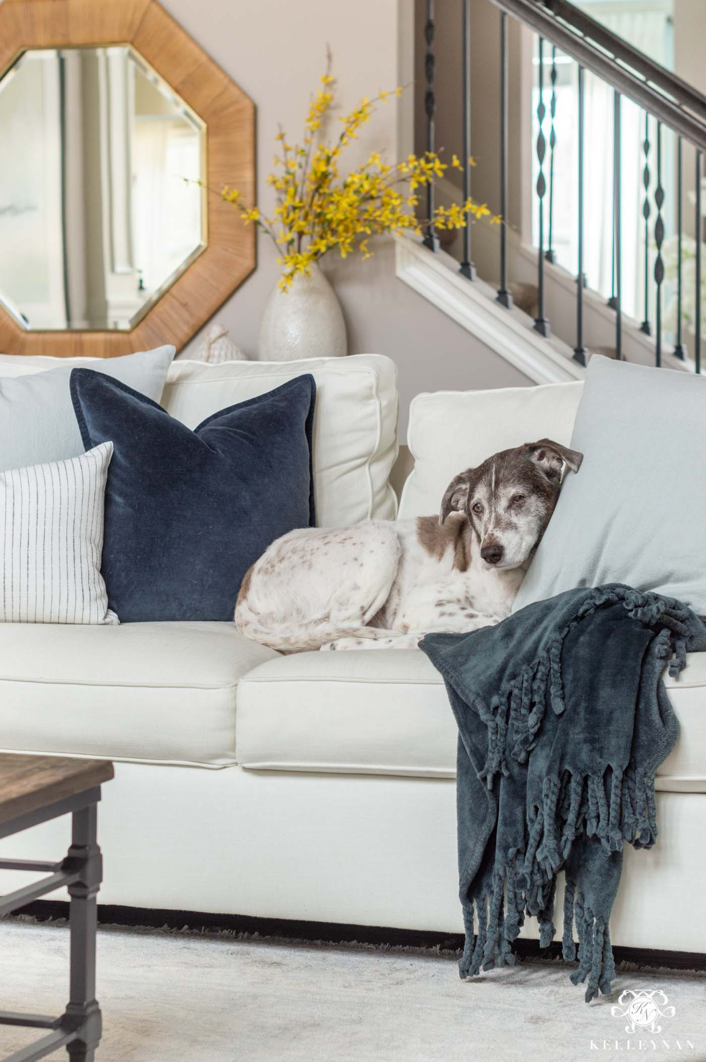 Mixing Dark and Light Pillows for Spring and Summer