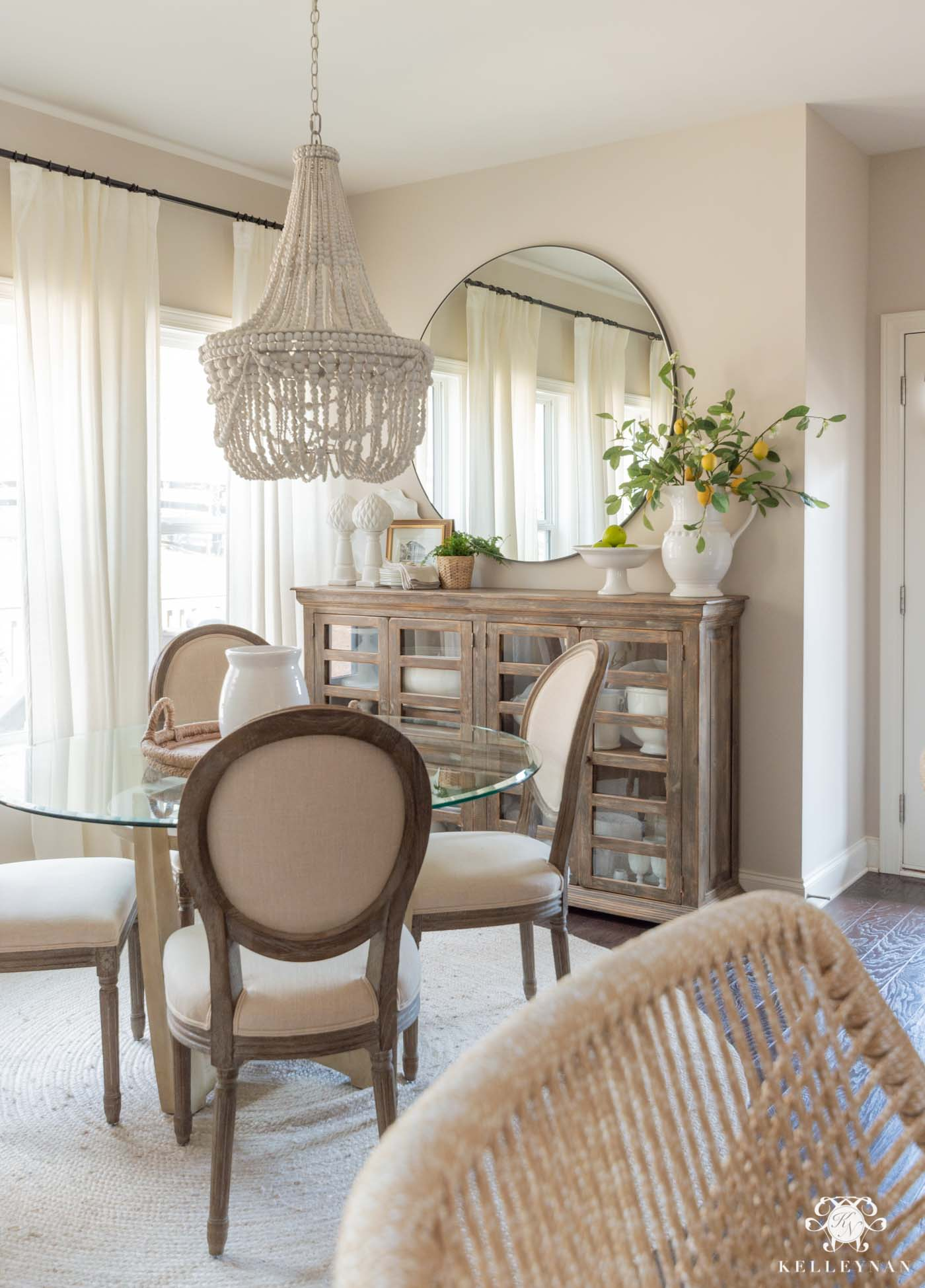 Neutral Breakfast Nook Decor and Spring Decorating Ideas