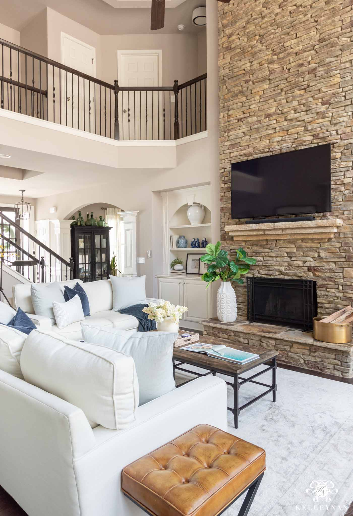 Living Room Design with Stone Fireplace