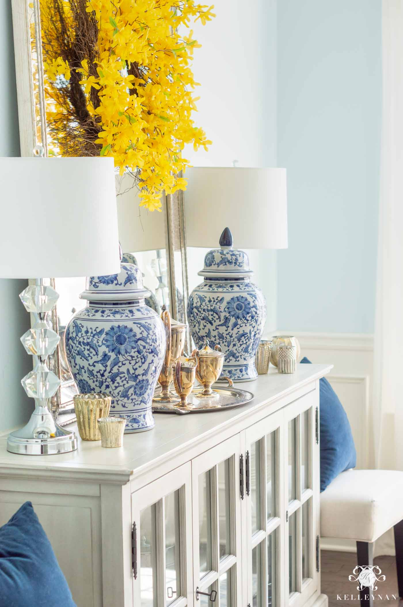 Blue and Yellow Spring Sideboard Decor