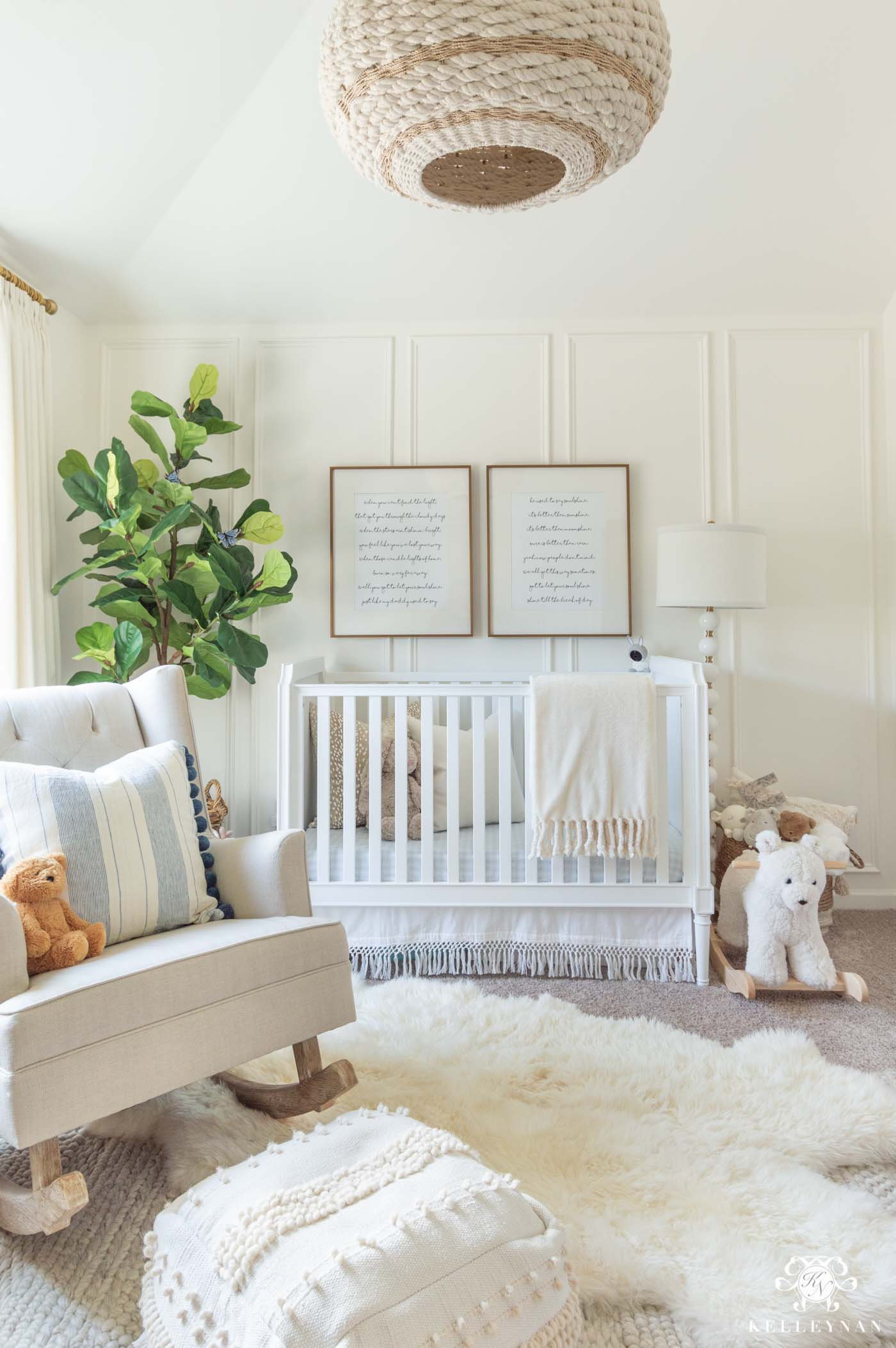 White and Neutral Baby GIrl Nursery Design (with pops of blue!)