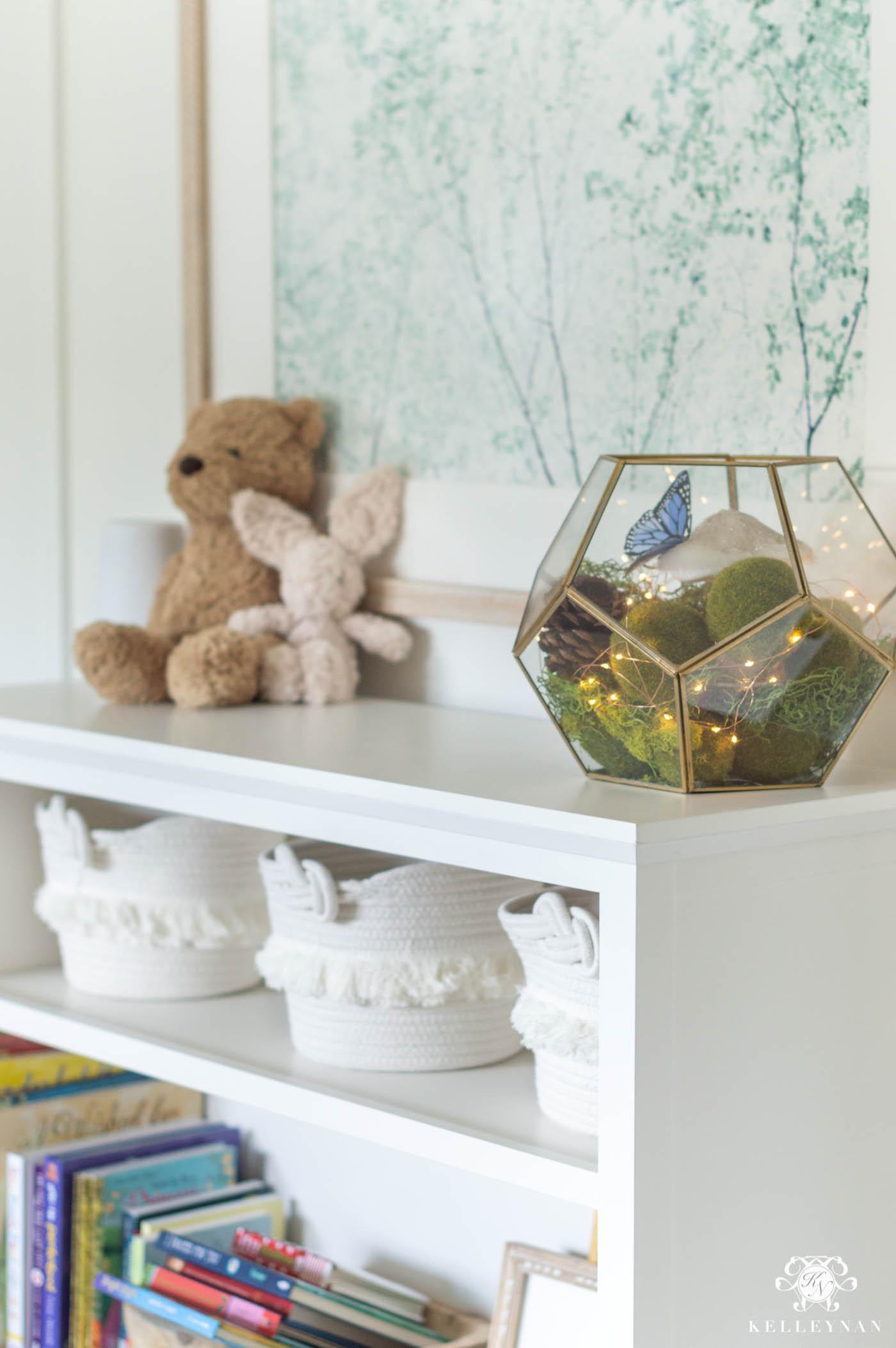 Baby Girl Nursery Decor: Bookshelf Fairy Garden Terrarium