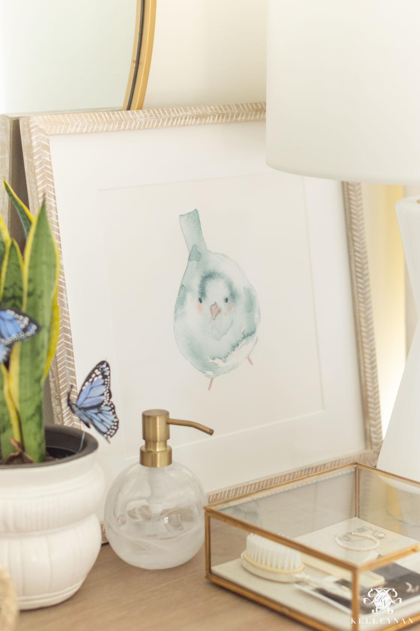 Baby Girl Nursery Bird Art