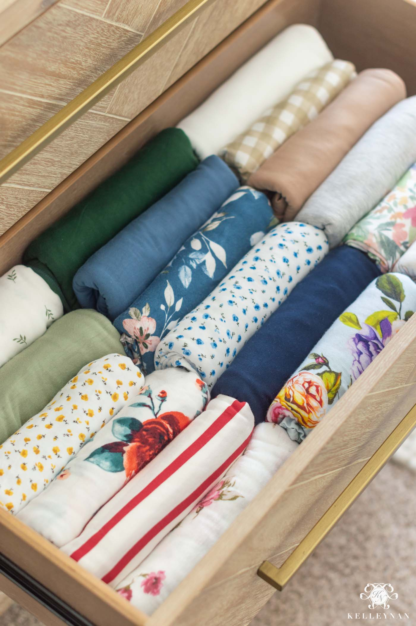 Nursery Dresser Organization -- How to Fold Your Swaddles and Clothes