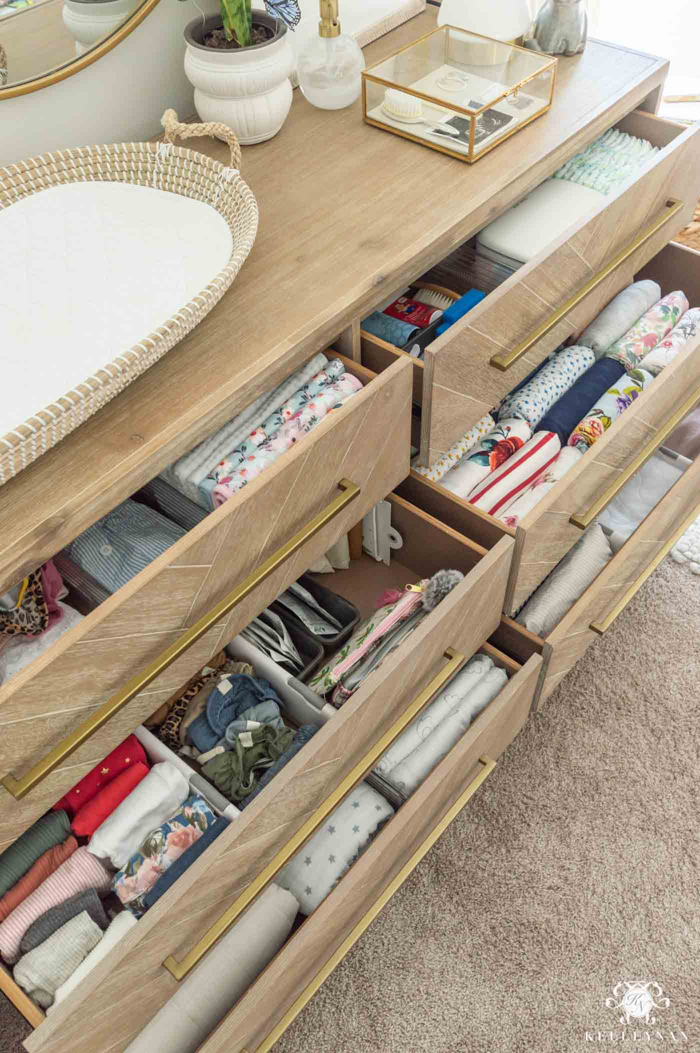 Nursery Dresser Organization -- How to Organize and Prep Your Baby's Essentials