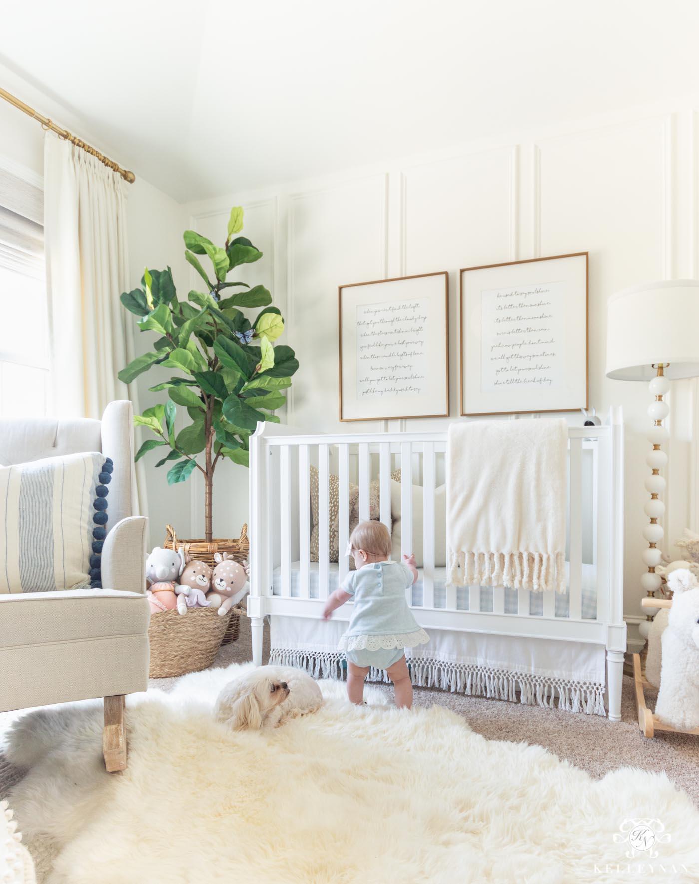 Blue and Neutral Baby Girl Nursery Decor
