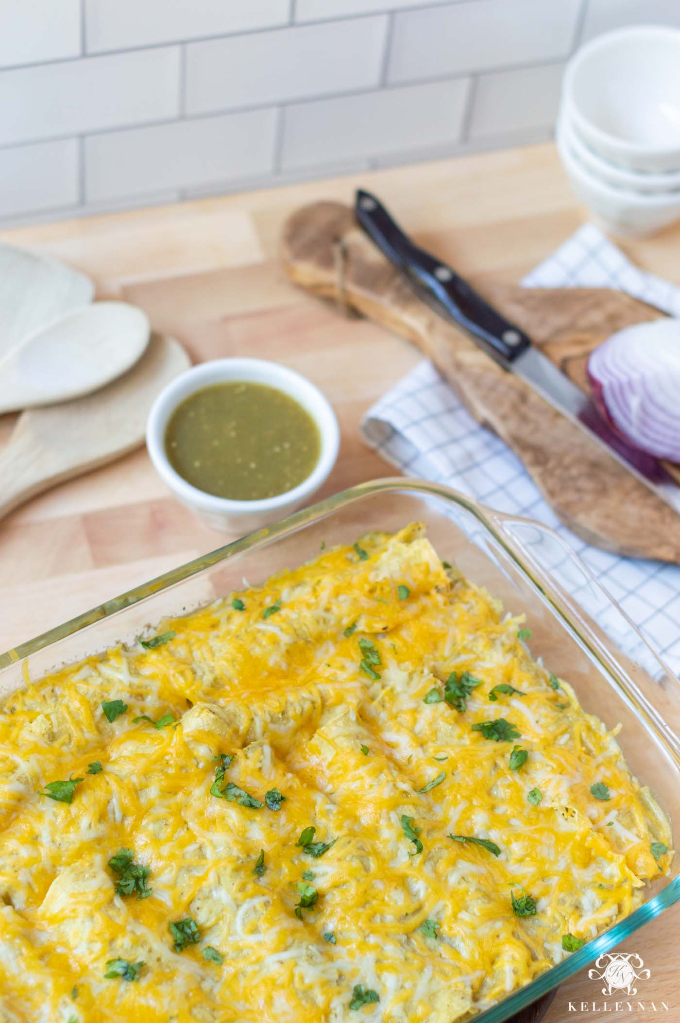 Family Friendly! Recipe for Cheesy Chicken Enchiladas Verde (that are super easy!)