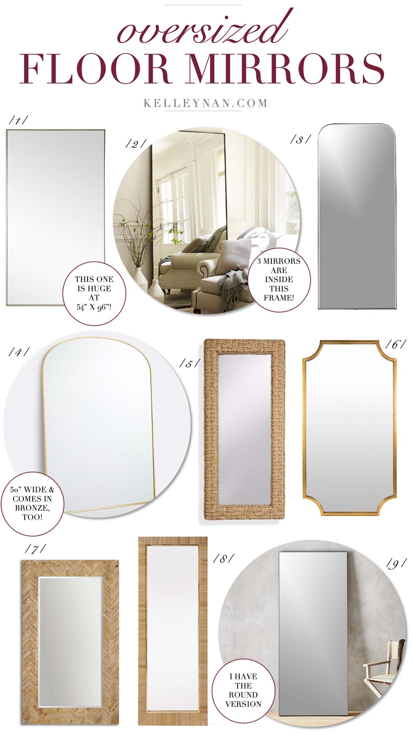 19 Oversized Floor Mirrors To Check Out This Weekend Kelley Nan